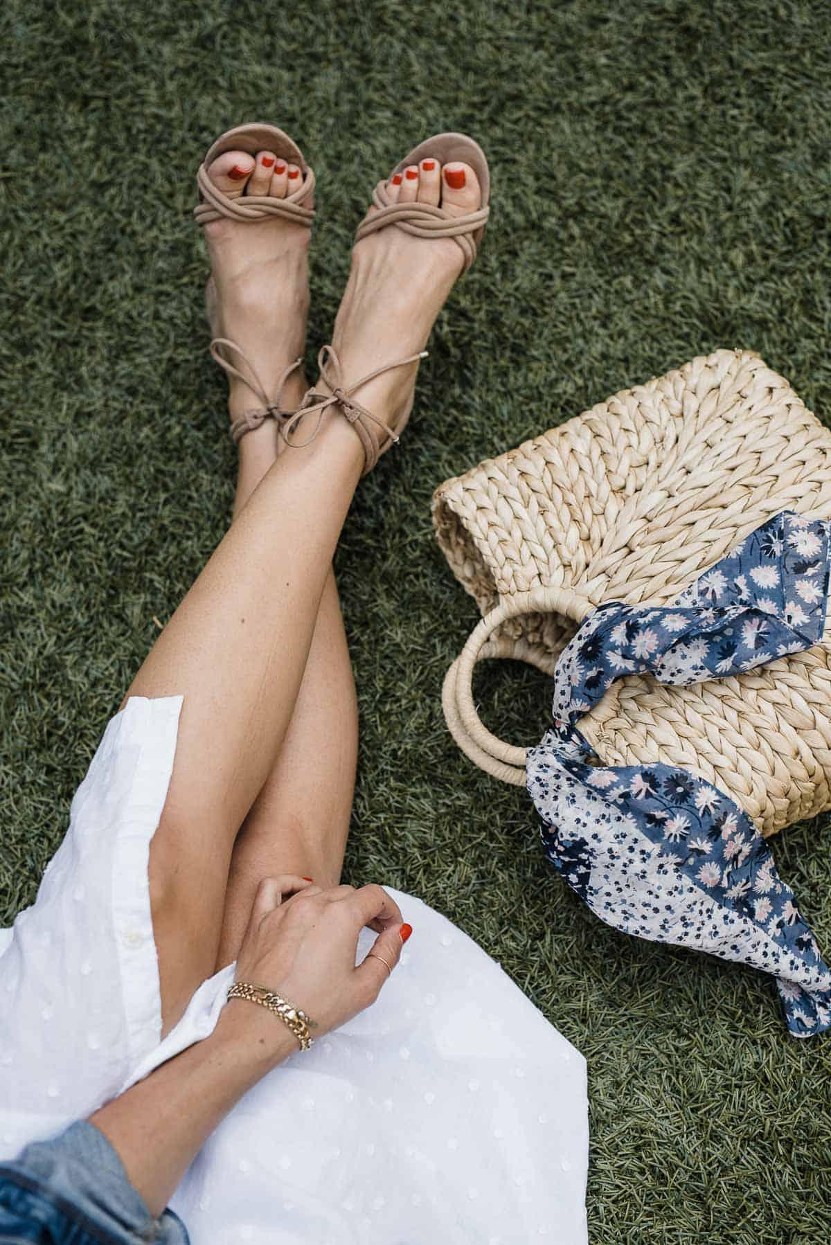 schutz sandals with hat attack bag