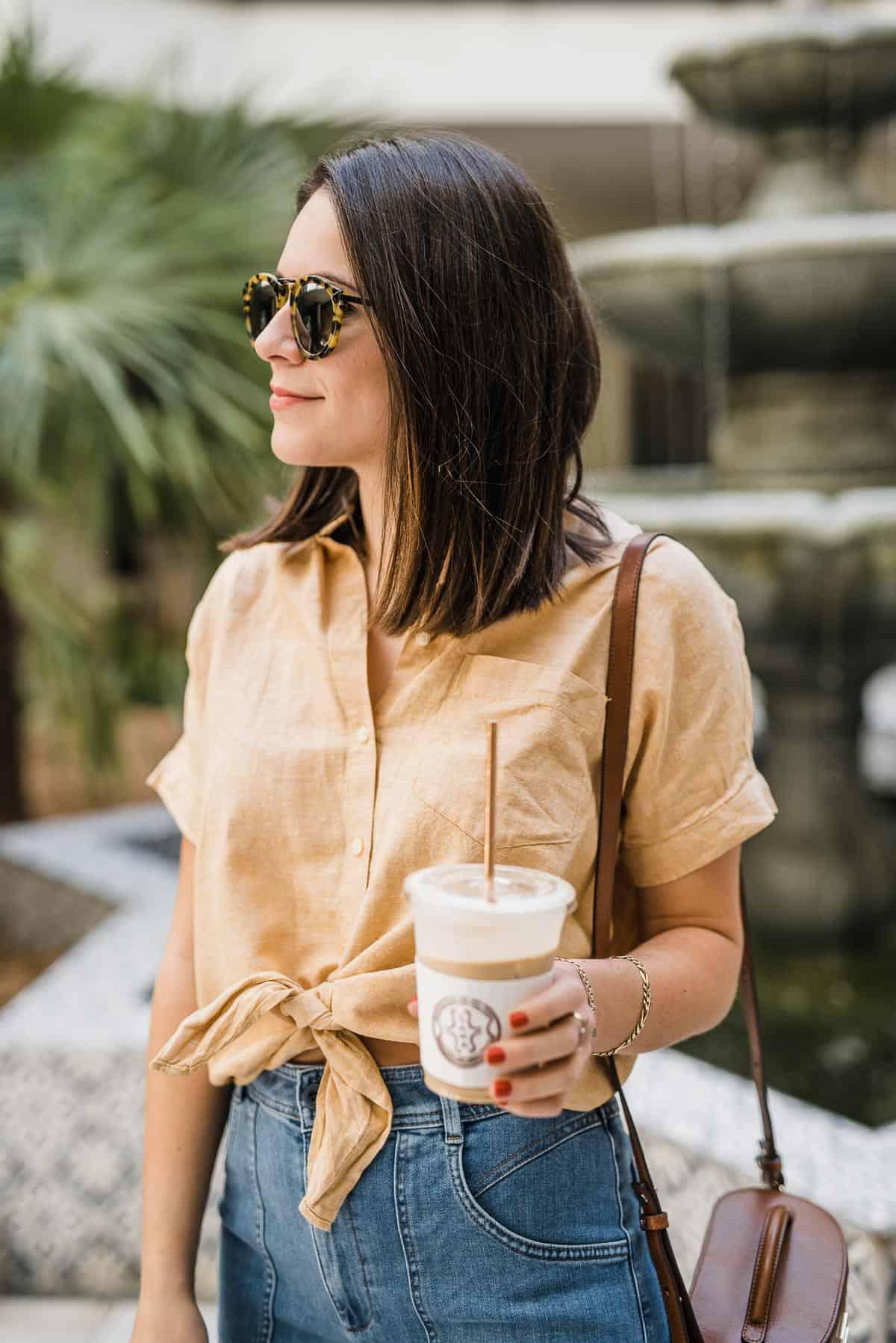 yellow button down linen shirt for summer