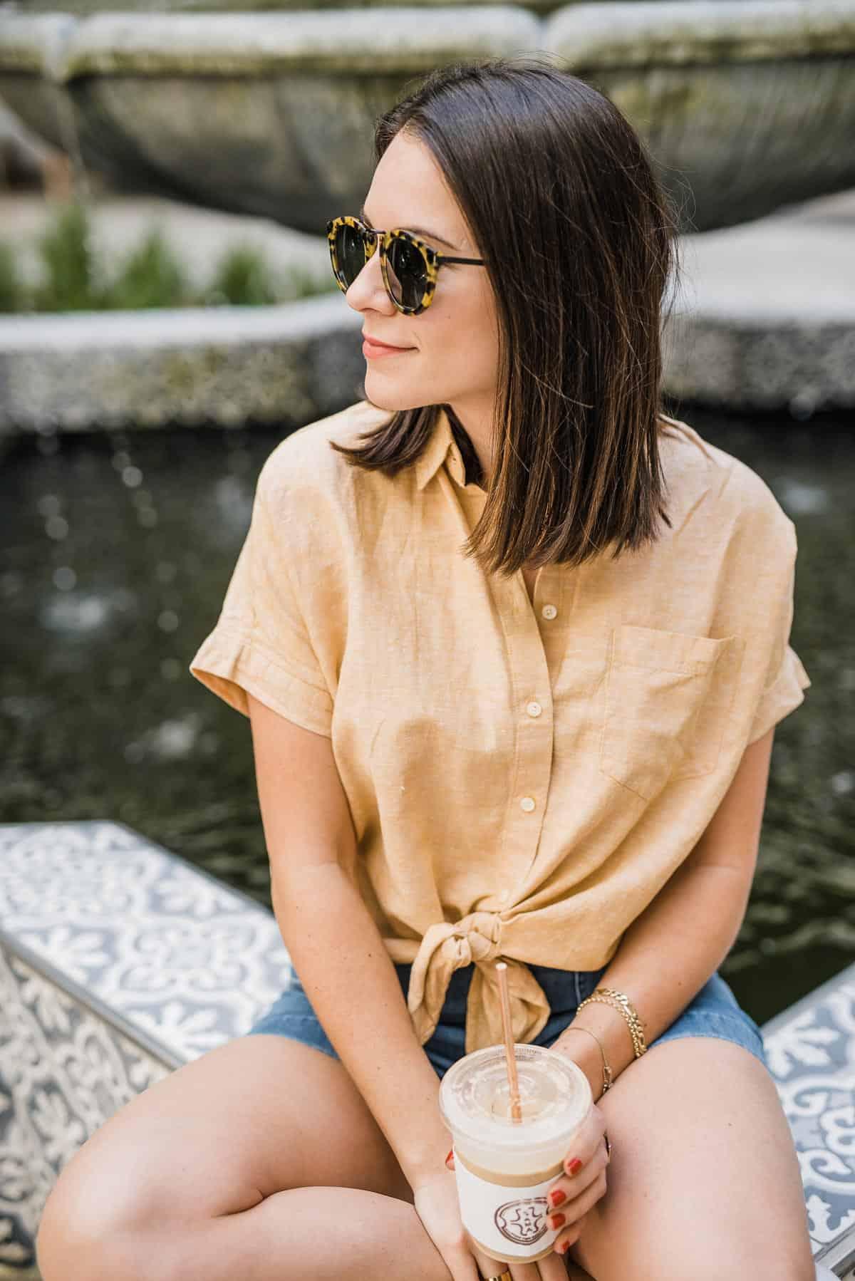 yellow summer shirt with denim shorts