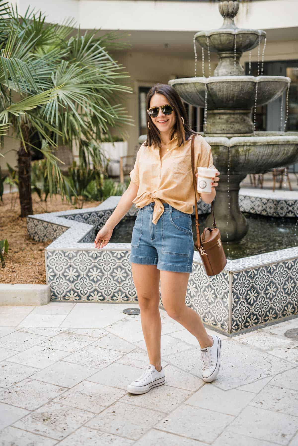 Denim shorts with a button down linen shirt