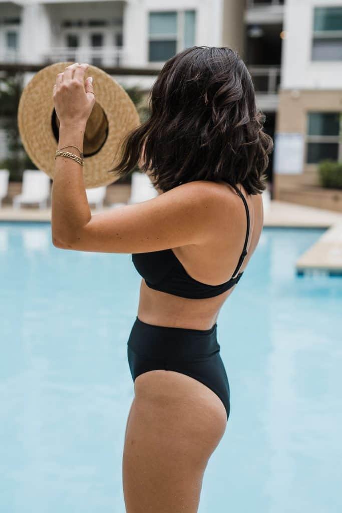 My Style Vita is wearing Aerie bikini top and bottom, a Brixton hat.