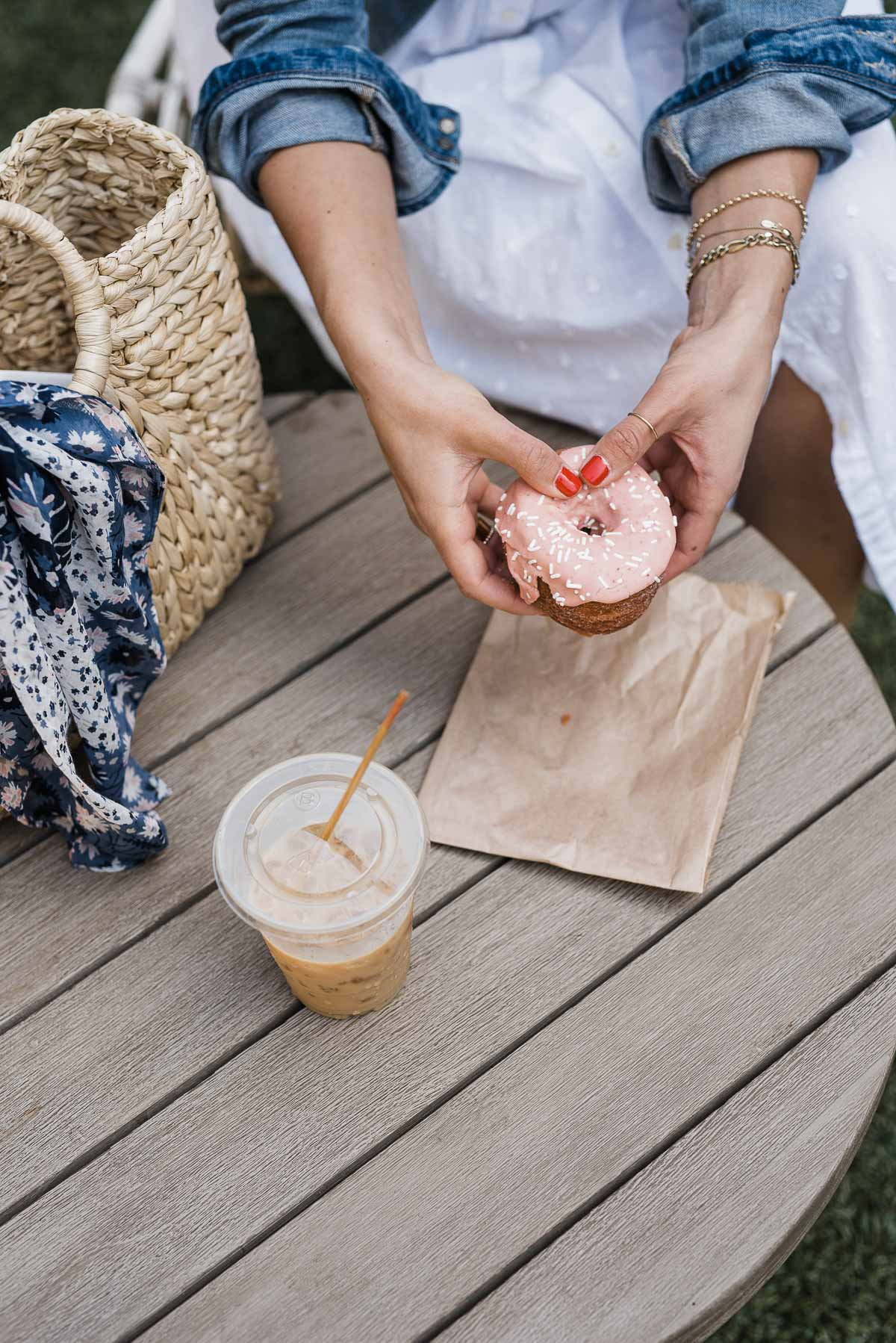 Iced Coffee latte and donuts