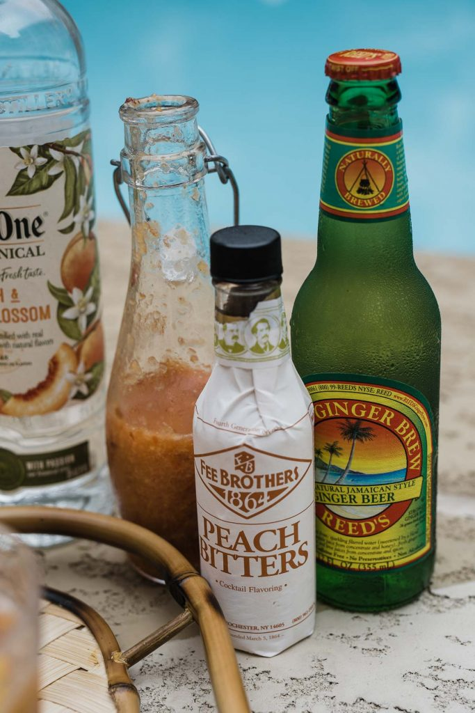 peach bitters, vodka, ginger beer