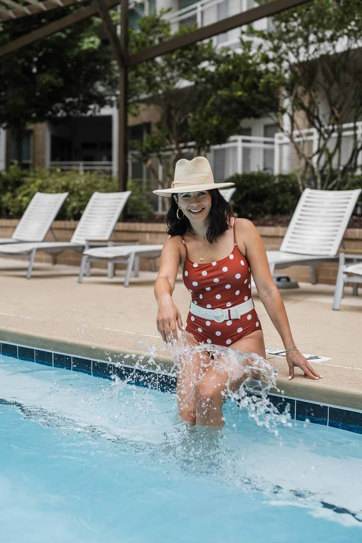 Polka dot one piece swimsuit featured