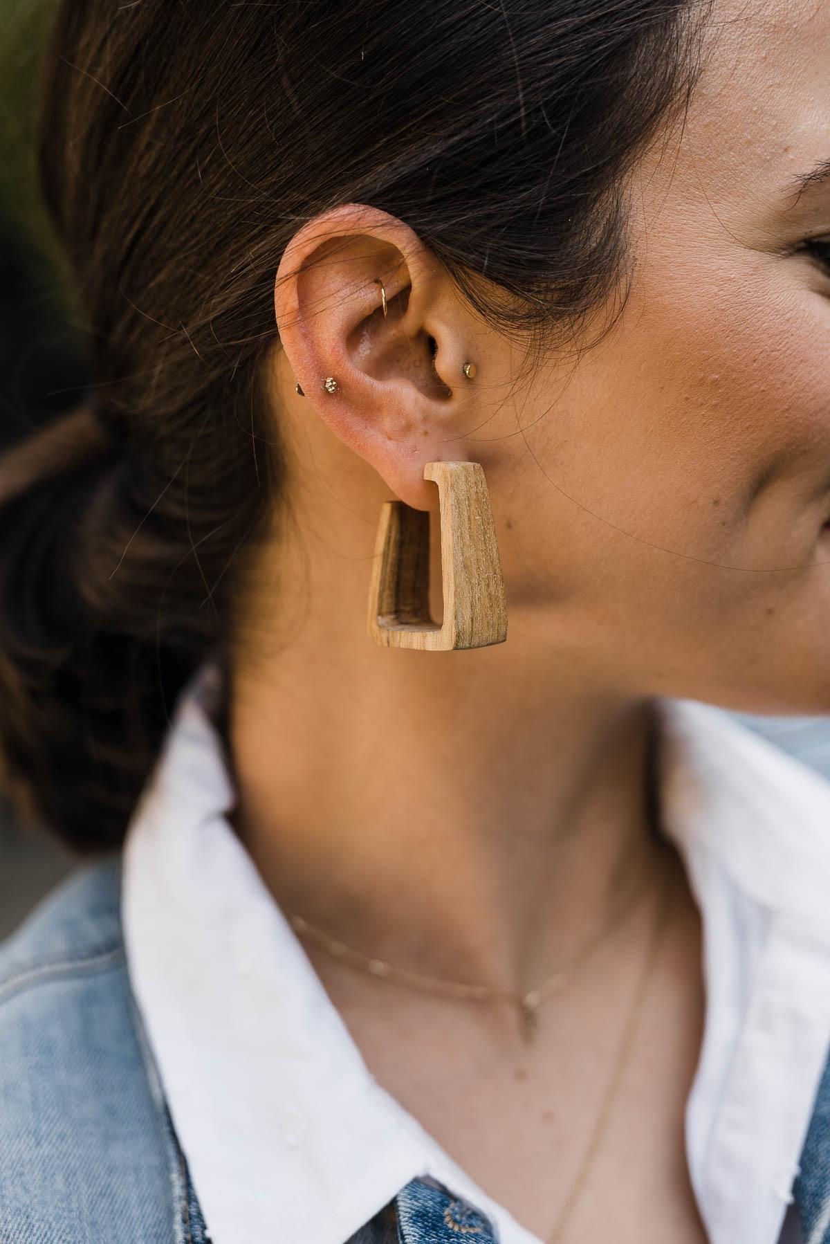 Raba Wood Hoop Earrings