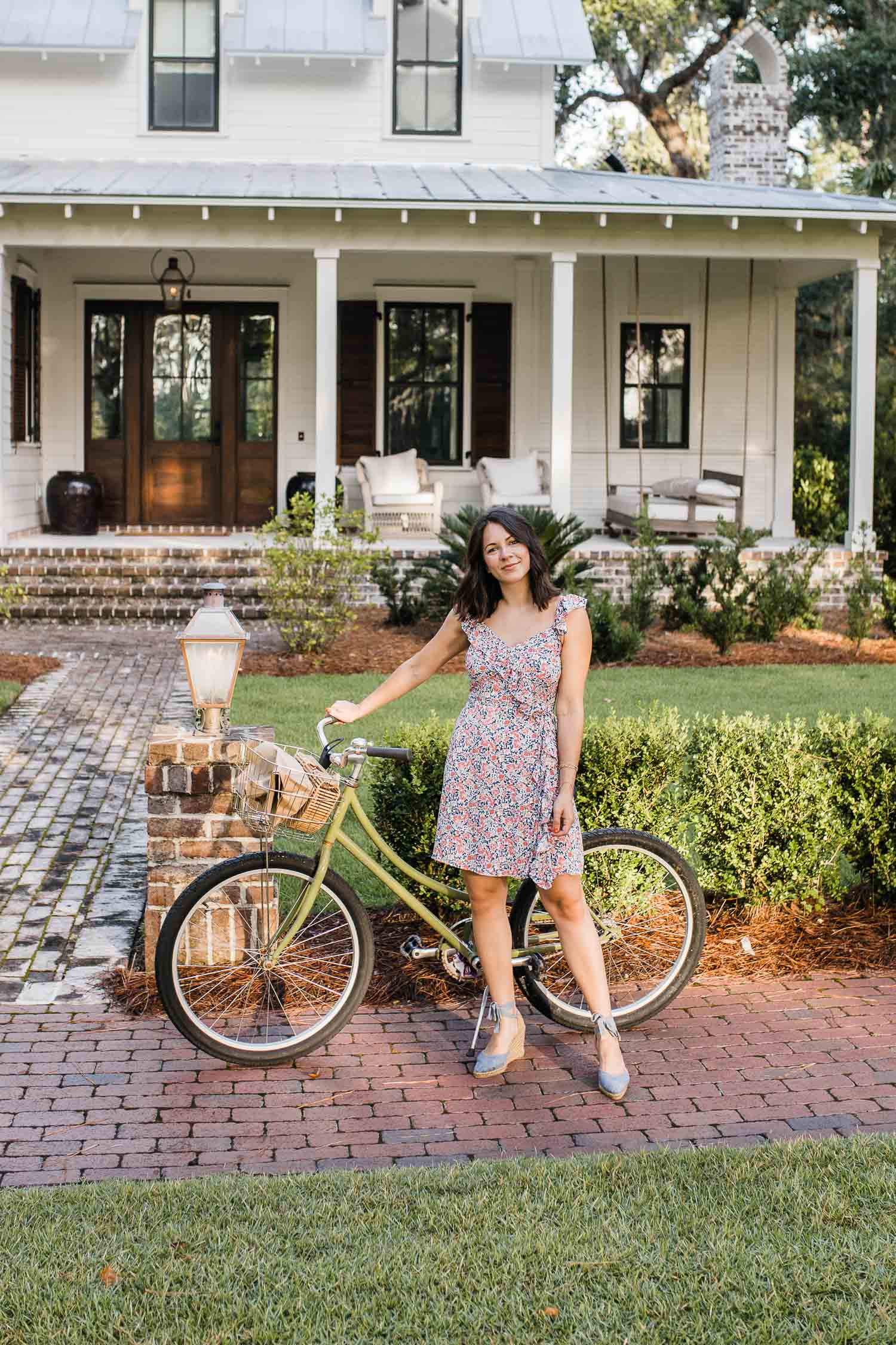 Jessica Camerata's outfit details: 1 State Floral Mini Dress, Castaner Espadrilles, Cult Gaia Bag, Madewell Gold Hoop Earrings
