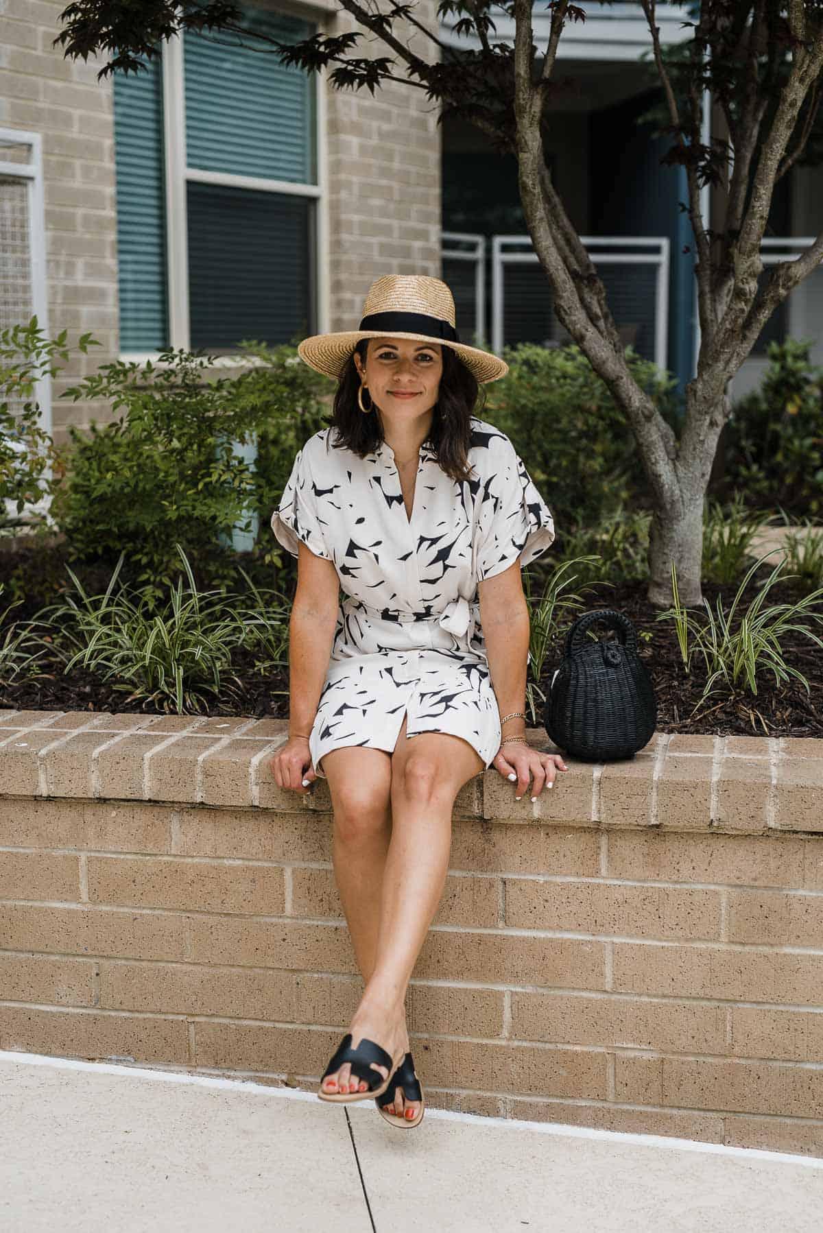 Outfit Details: Ann Taylor Dress, Cult Gaia Bag, Brixton Hat, Greece Sandals