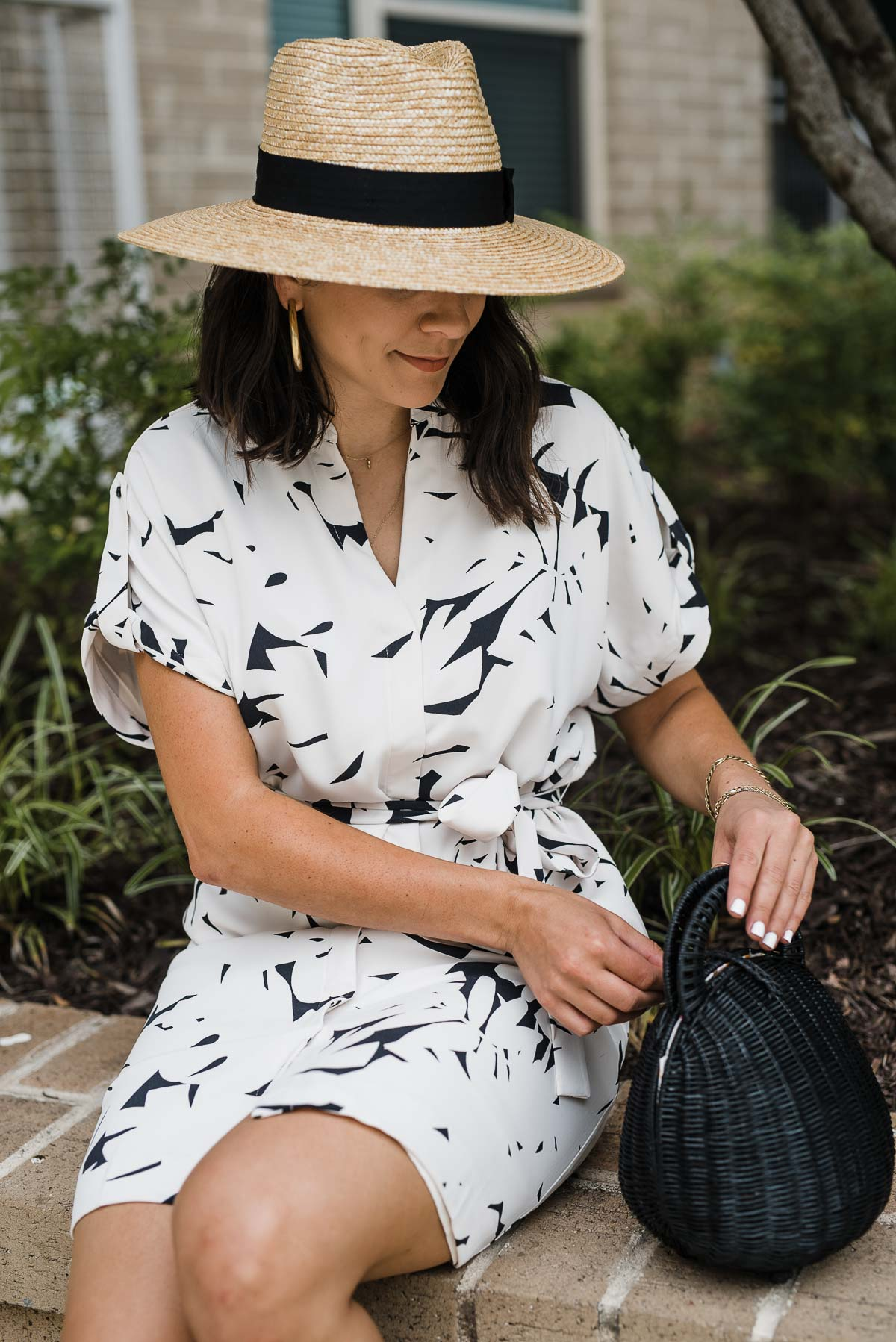 Outfit Details: Ann Taylor Dress, Cult Gaia Bag, Brixton Hat, Greece Sandals by My Style Vita