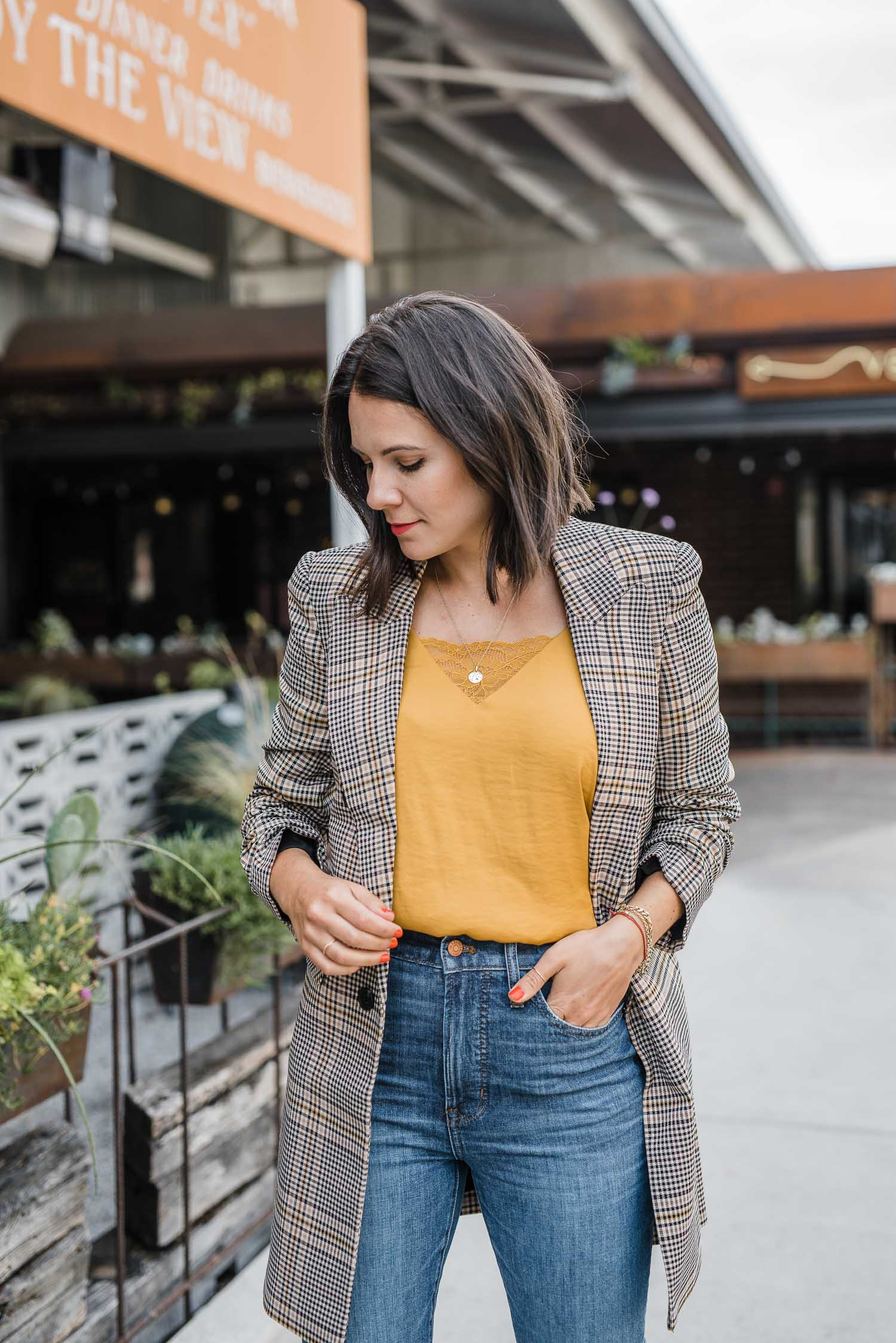 A plaid blazer is perfect for the end of summer and beginning of fall