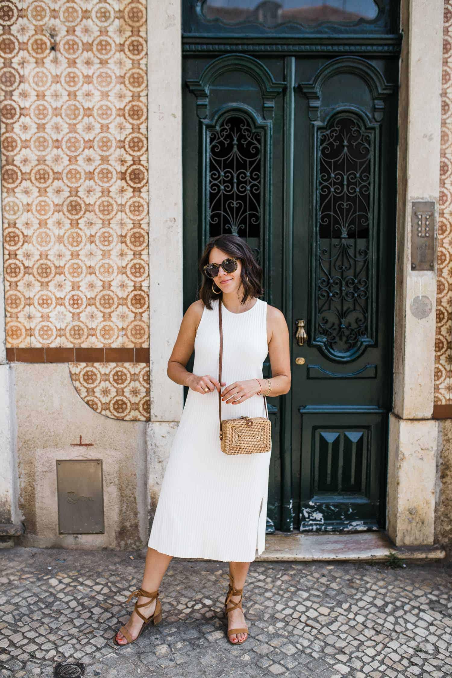 Jessica in a white dress