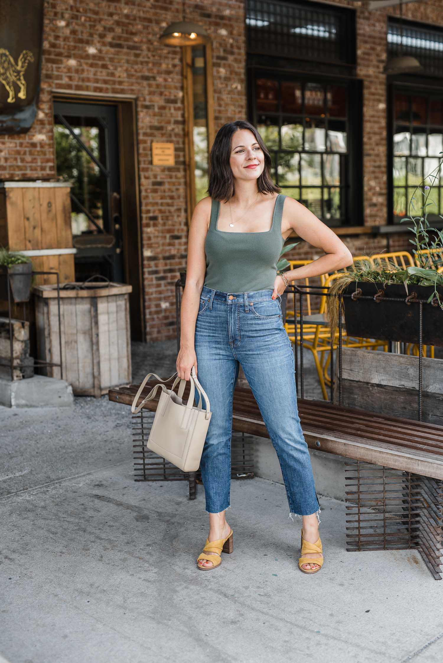 Green Leith Tank and jeans outfit