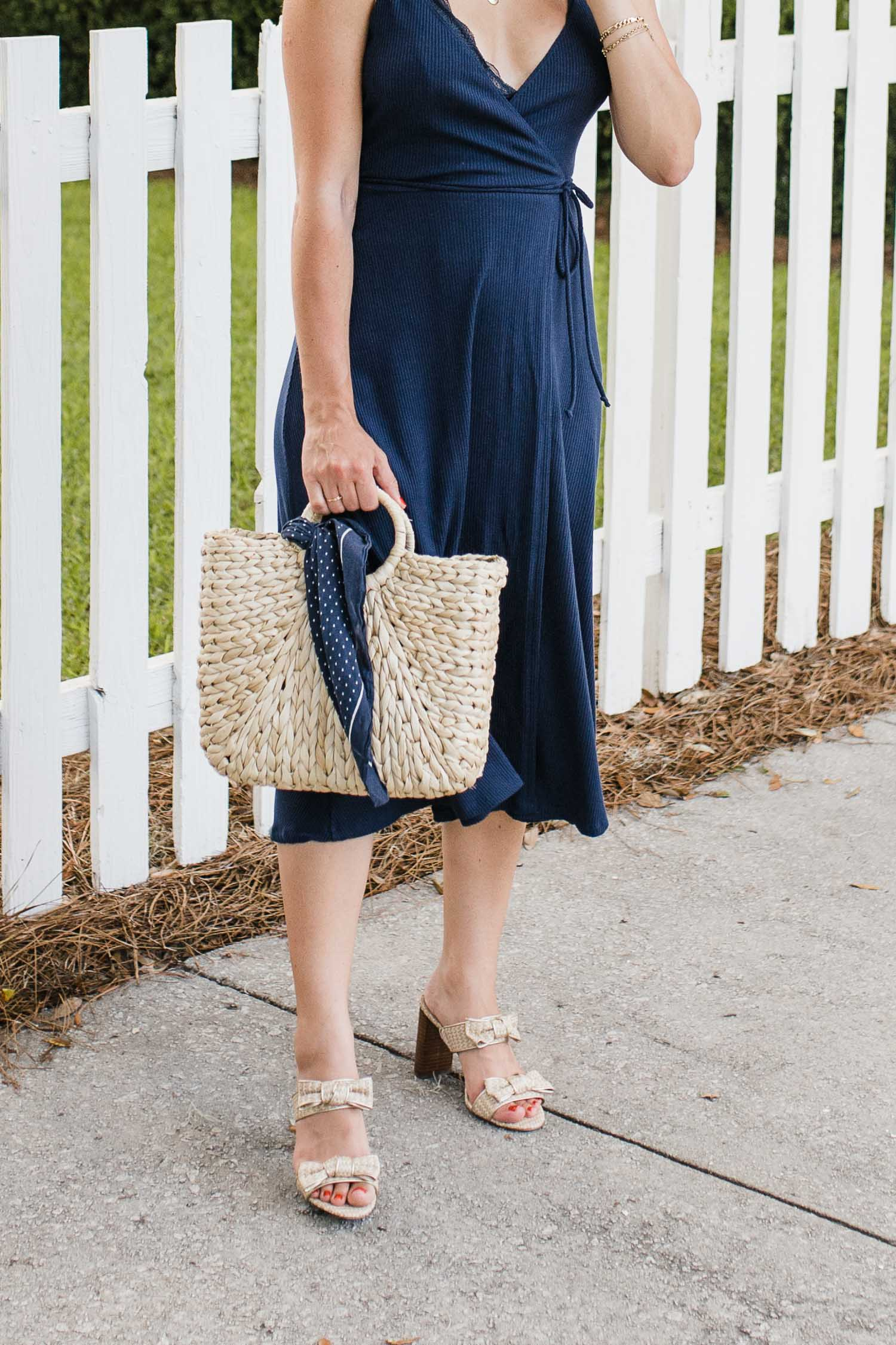 REFORMATION DRESS, ANN TAYLOR SANDALS, HAT ATTACK BAG