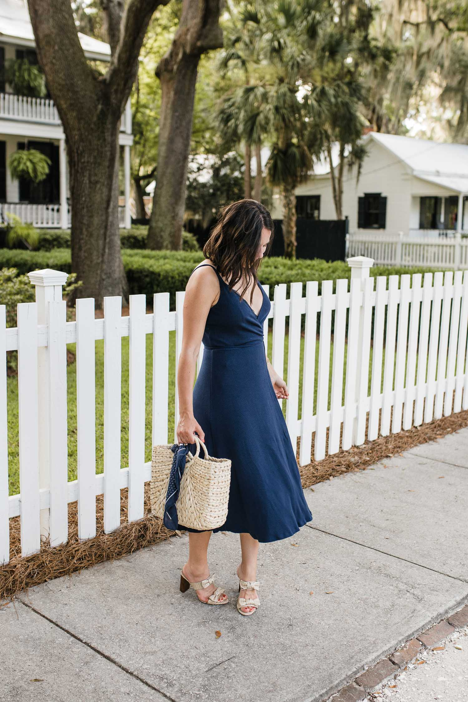 MY STYLE VITA OUTFIT DETAILS: REFORMATION DRESS, ANN TAYLOR SANDALS, HAT ATTACK BAG