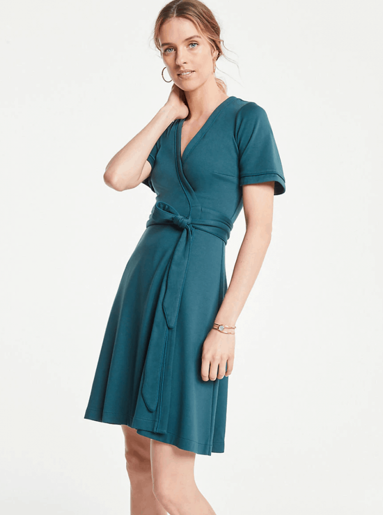 Piped Flutter Sleeve Wrap Dress