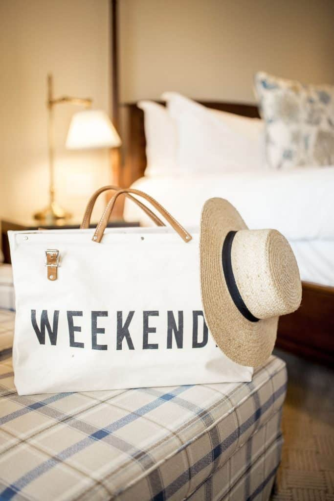weekend bag and summer hat featured