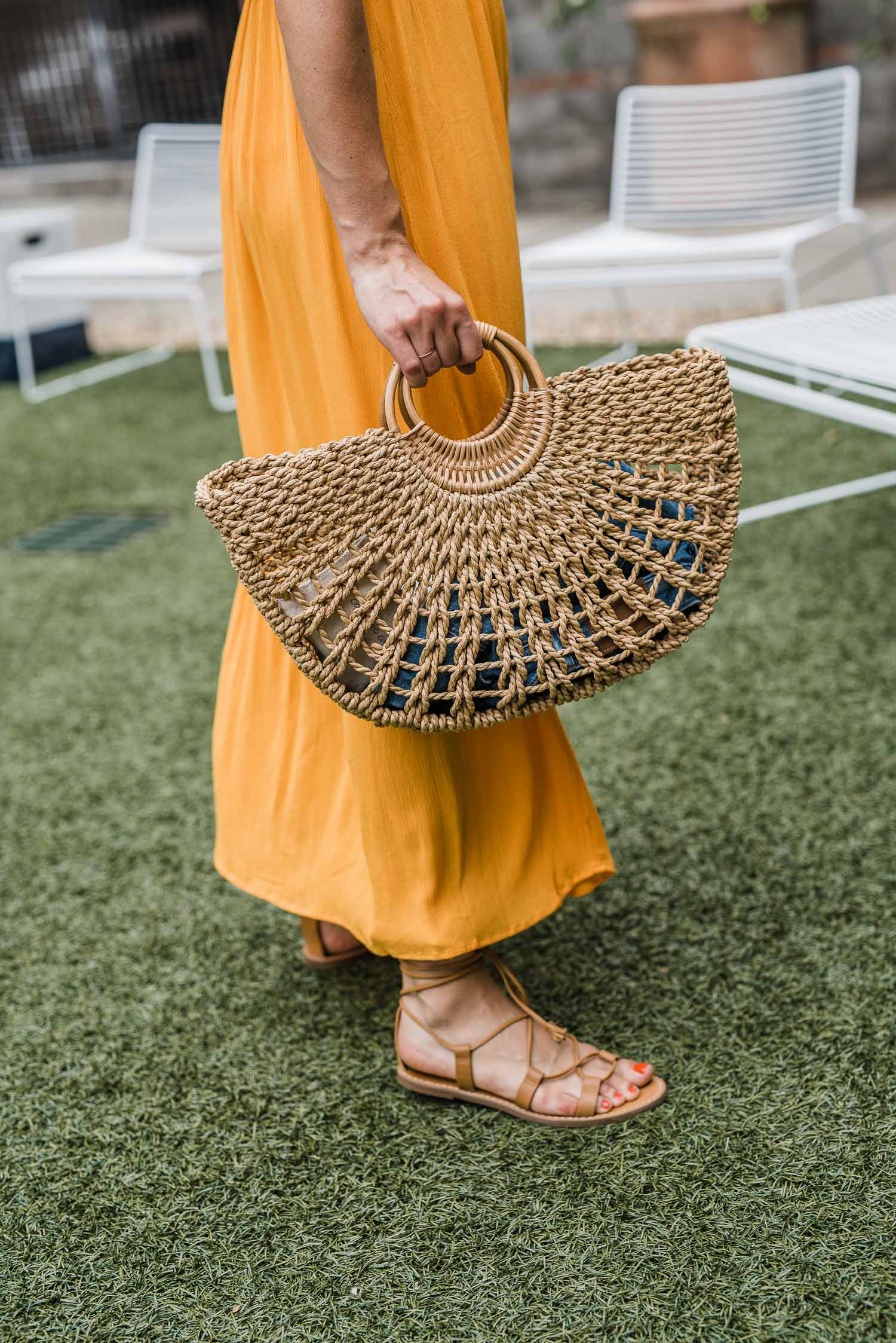 Straw bag and Madewell lace up sandals featured