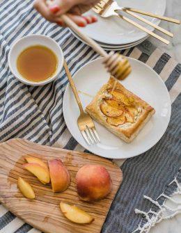 peach and goat cheese tart