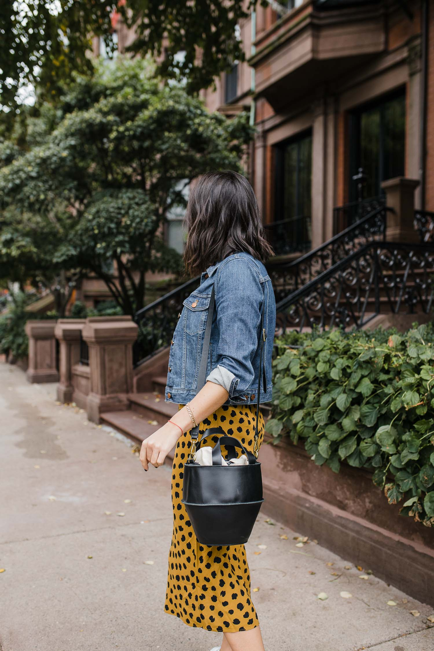 a spotted skirt to transition into fall with