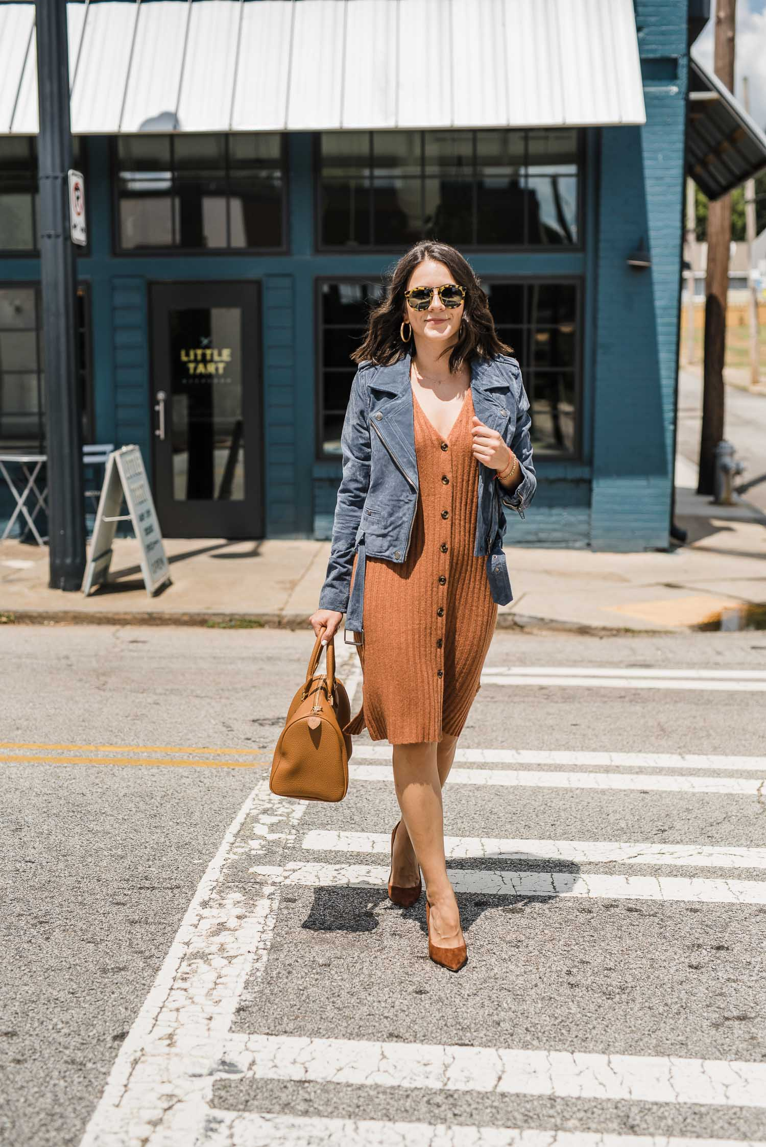 the madewell insider event includes this beige dress, jean jacket, and heels