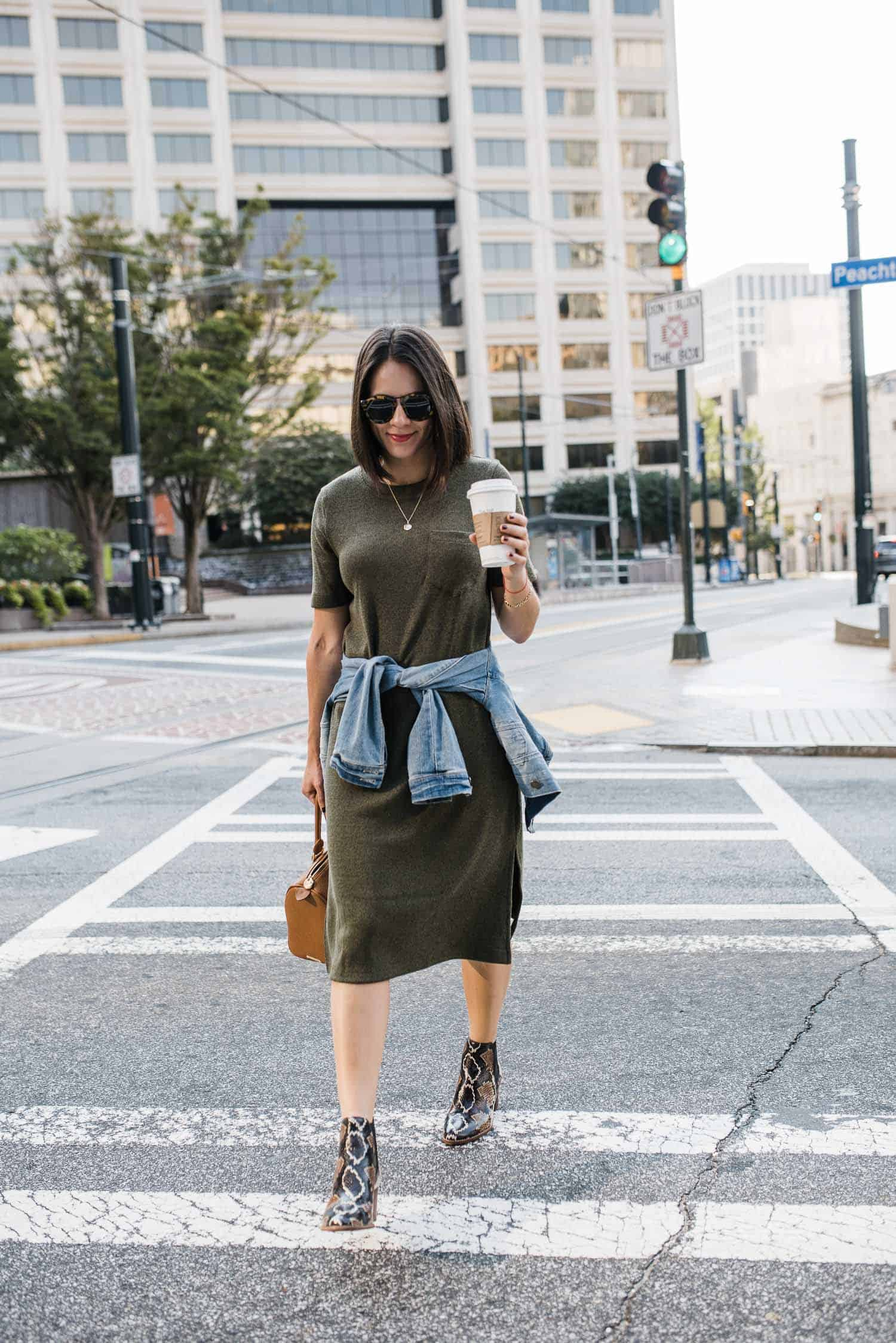 tshirt dress outfit with denim jacket