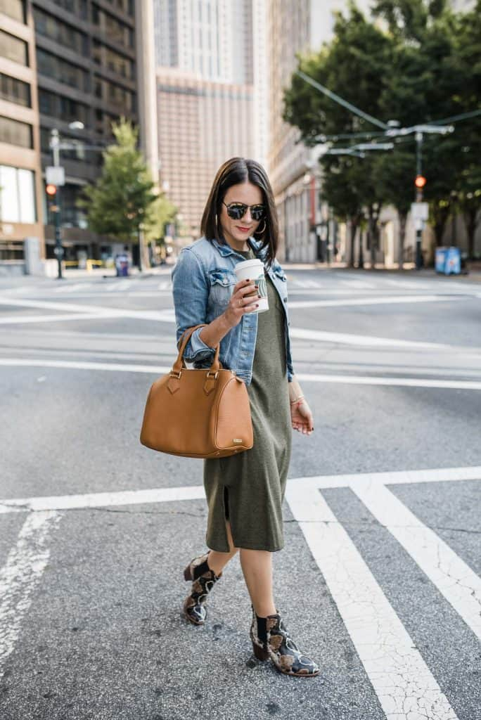 denim and dress for fall