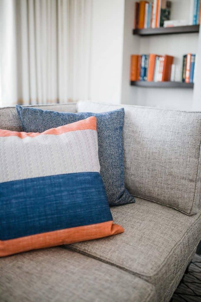 pillows and a sofa