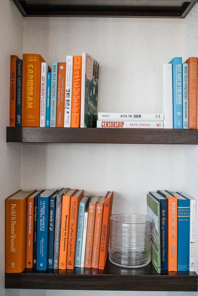 a bookshelf of lots of books