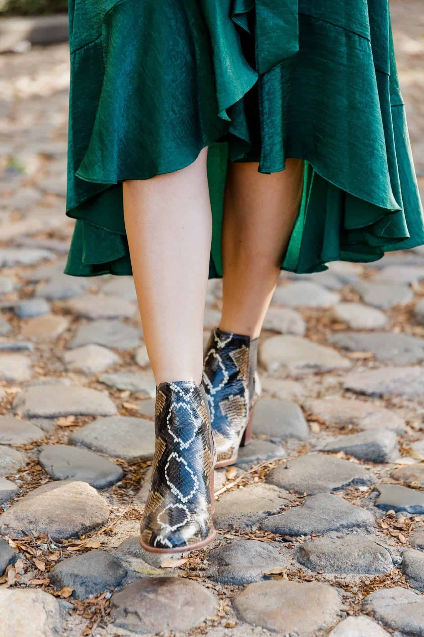 fall wrap dress with snakeskin boots