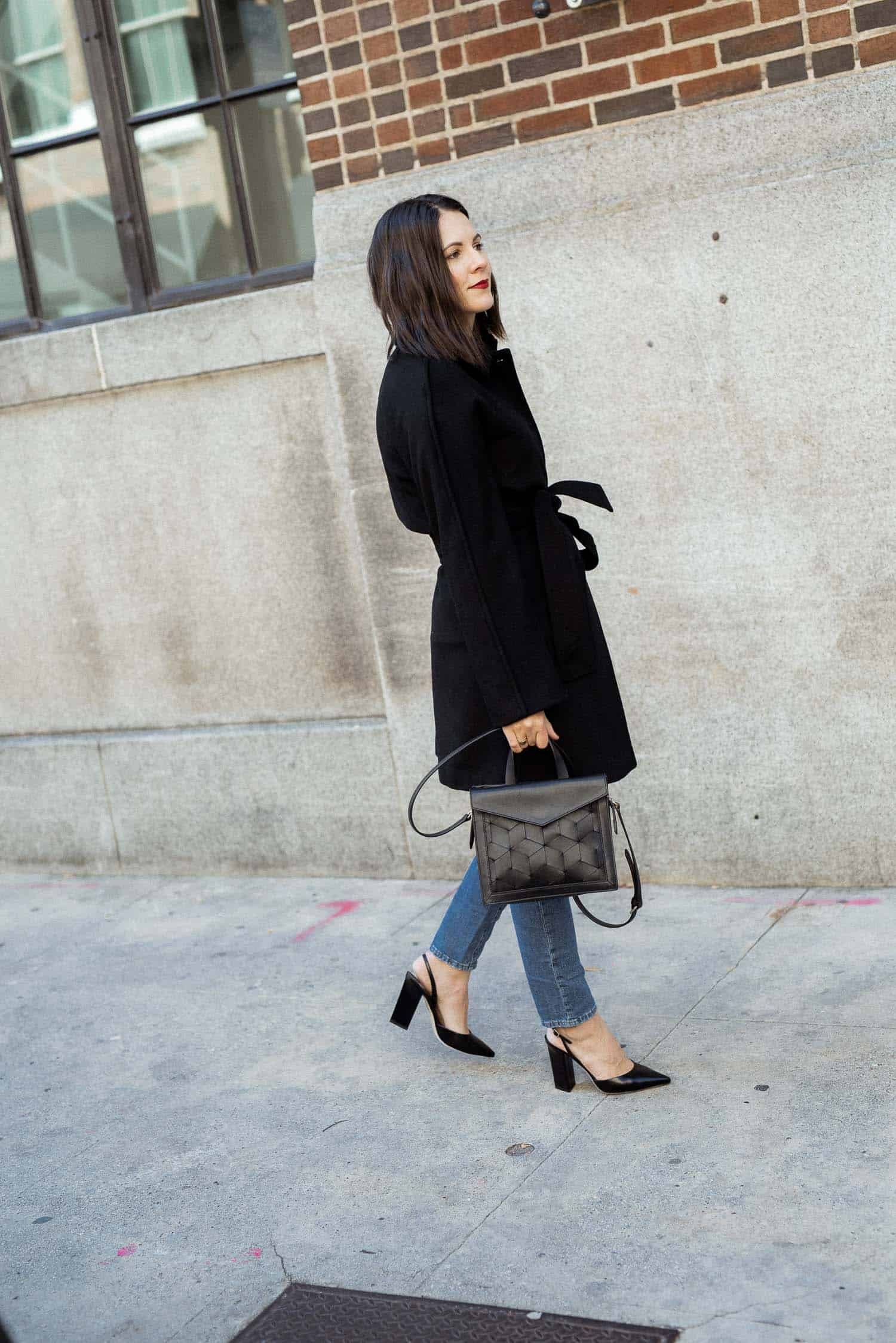 Black Gal Meets Glam Collection coat and Welden Bag with Tamara Mellon Heels