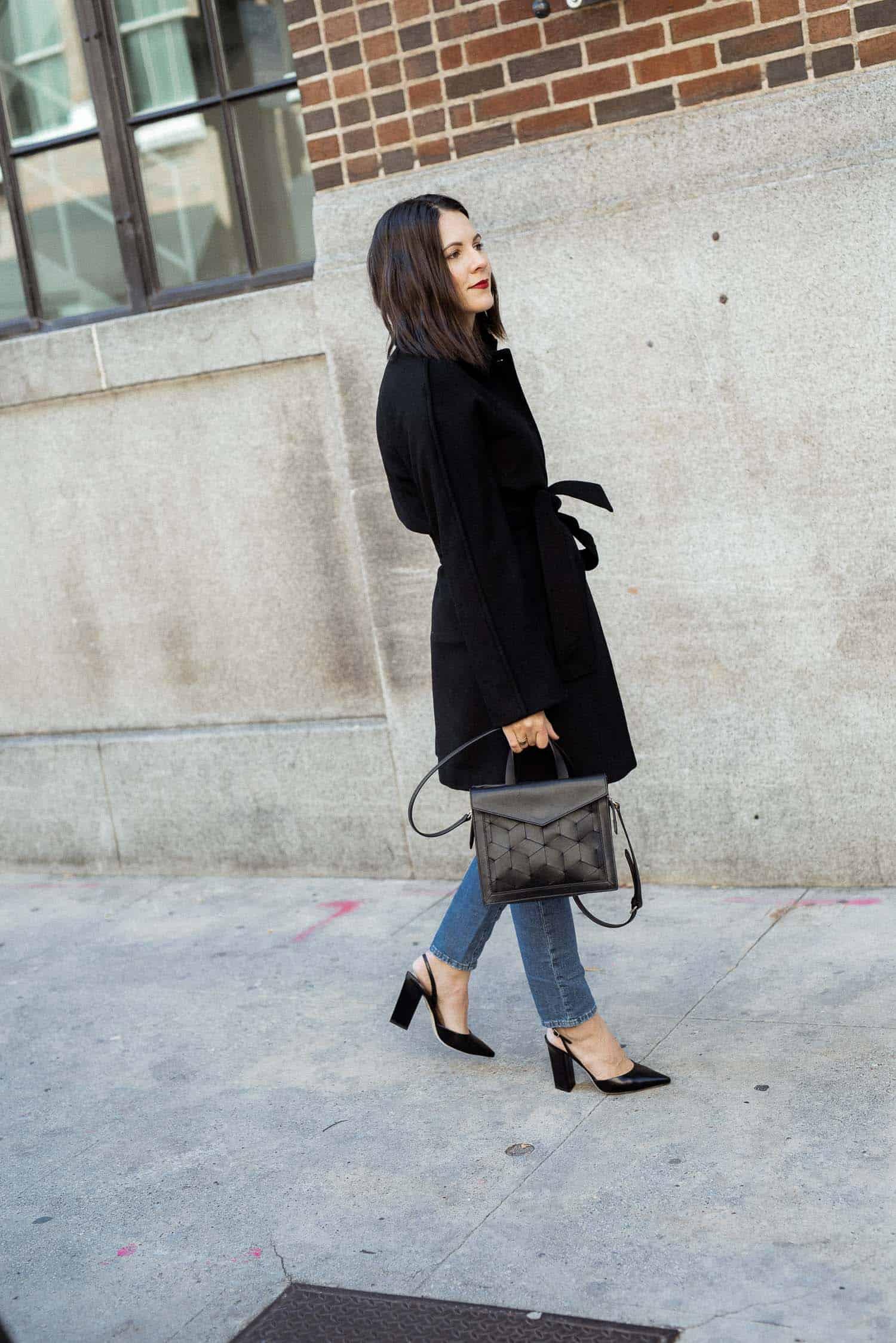 Black Gal Meets Glam Collection coat and Welden Bag with Tamara Mellon Heels