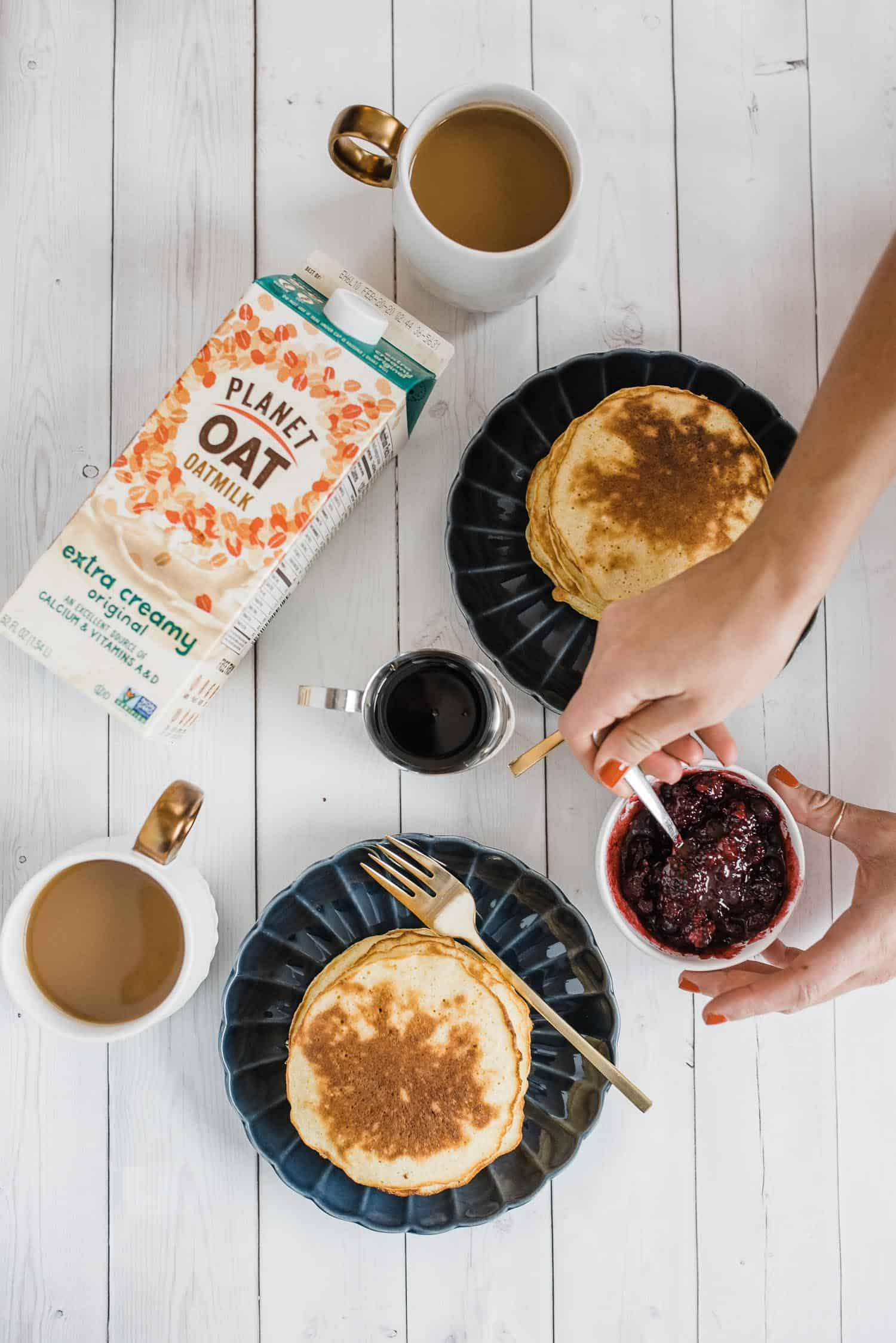 Oatmilk Pancakes Recipe and a berry sauce
