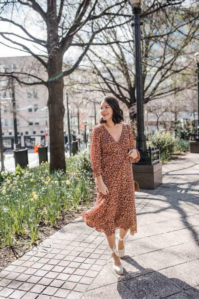 Floral Midi Wrap Dress Styled Two Ways