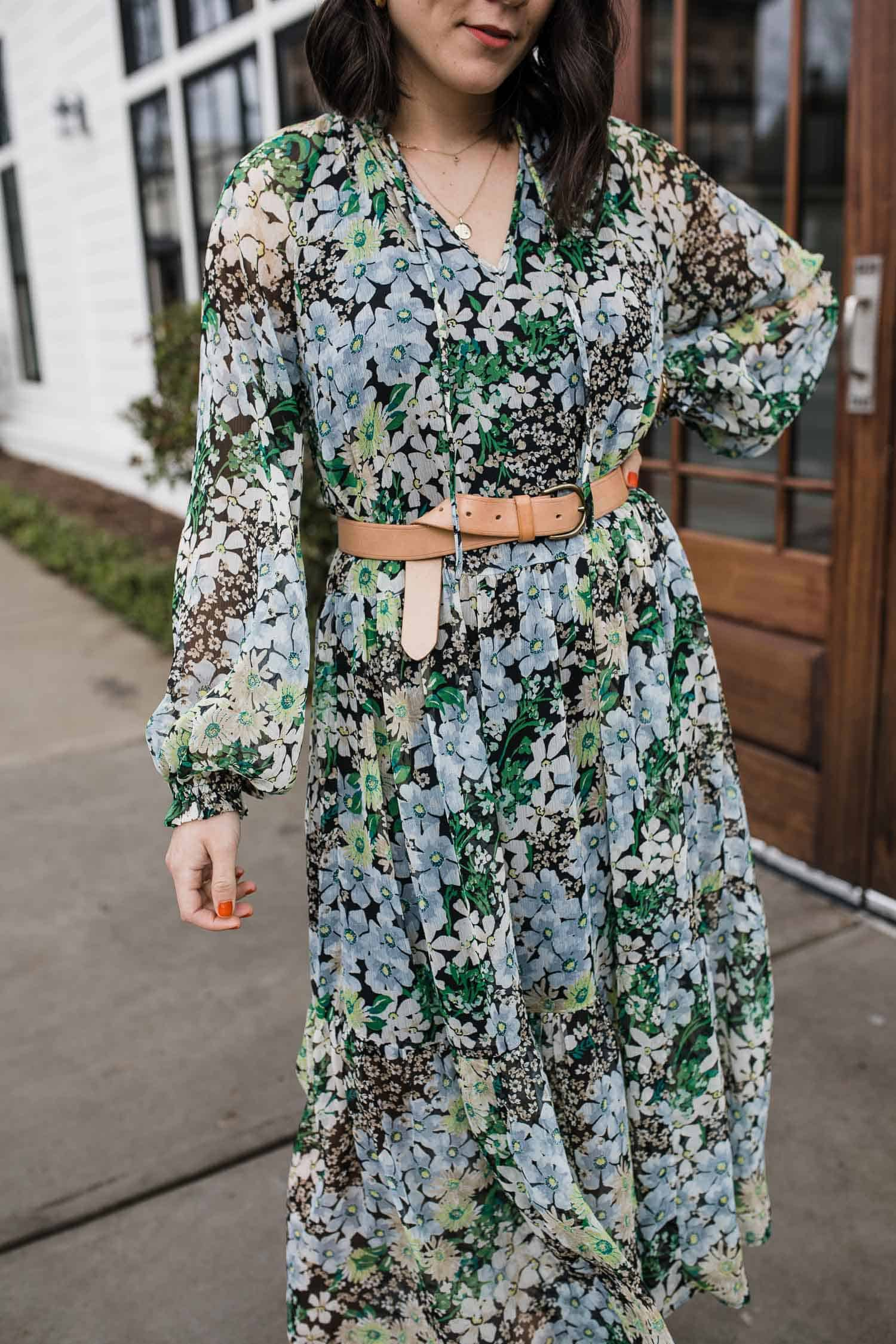 Belted floral dress