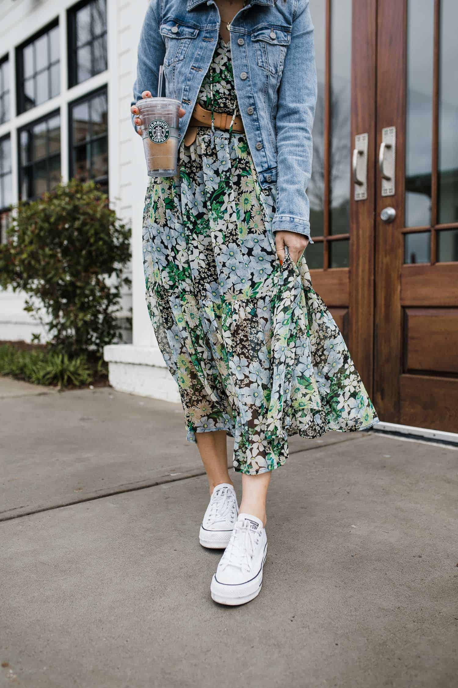 floral dress with converse