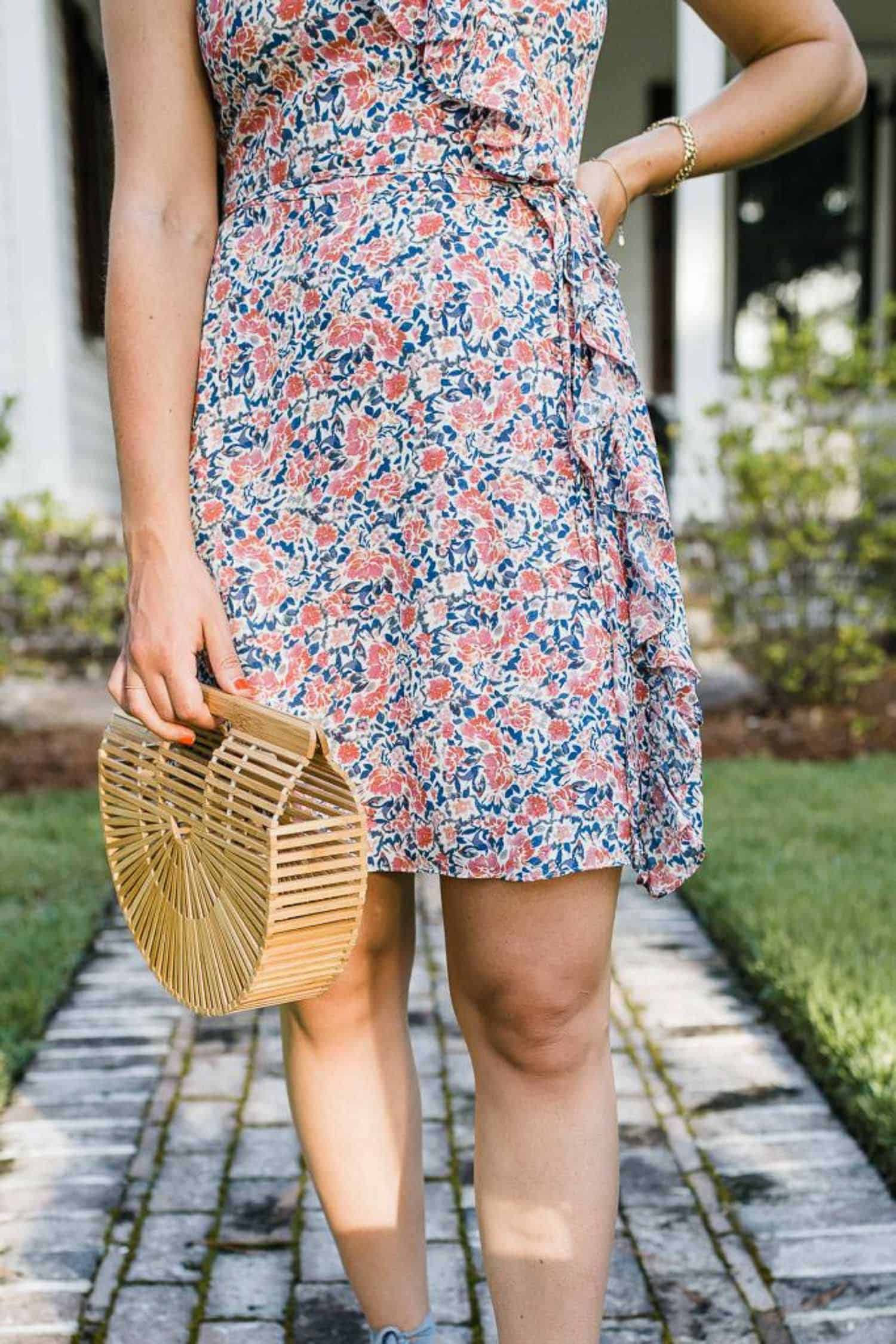 My Style Vita outfit details: 1 State Floral Mini Dress and Cult Gaia Bag