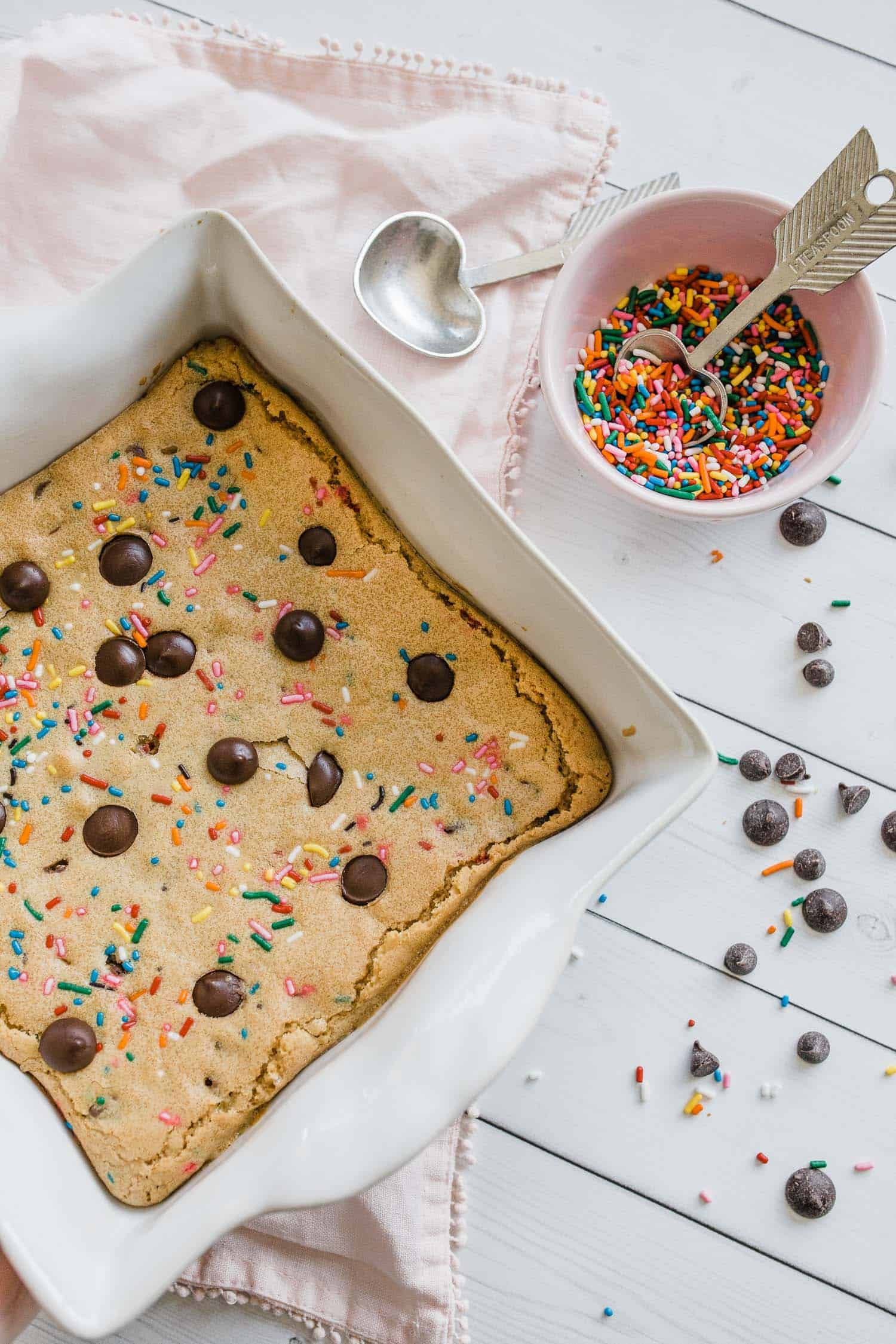 blondies with sprinkles and chocolate chips for dessert