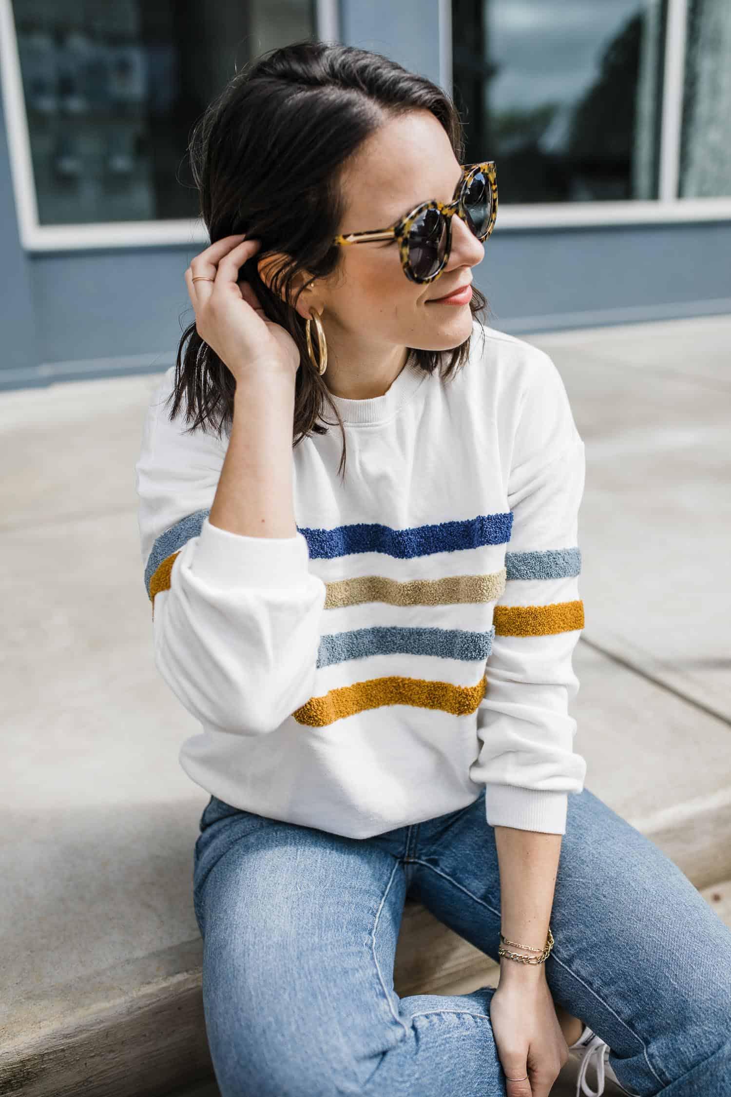 striped sweatshirt styled by Jessica Camerata