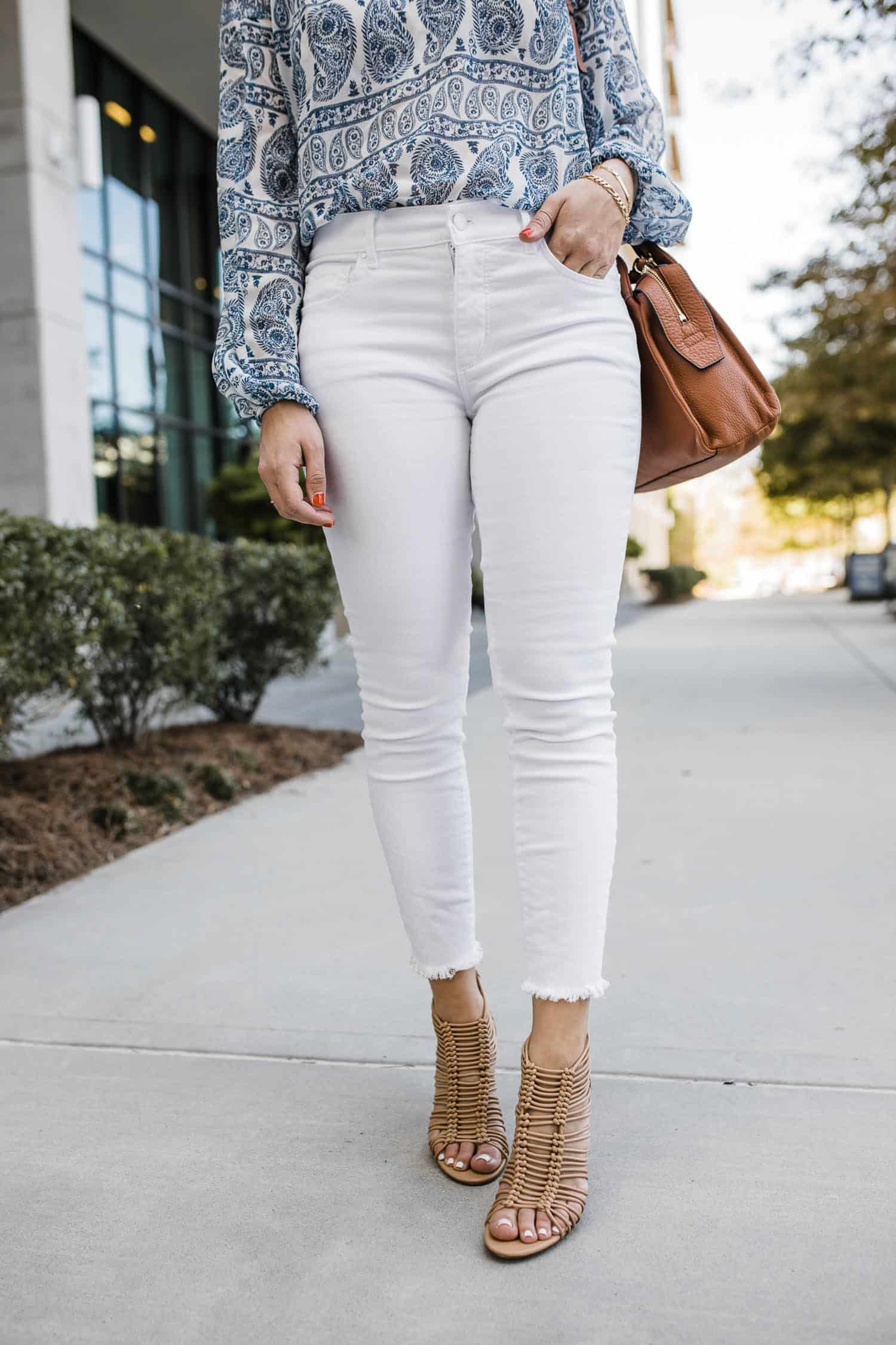white frayed jeans for summer