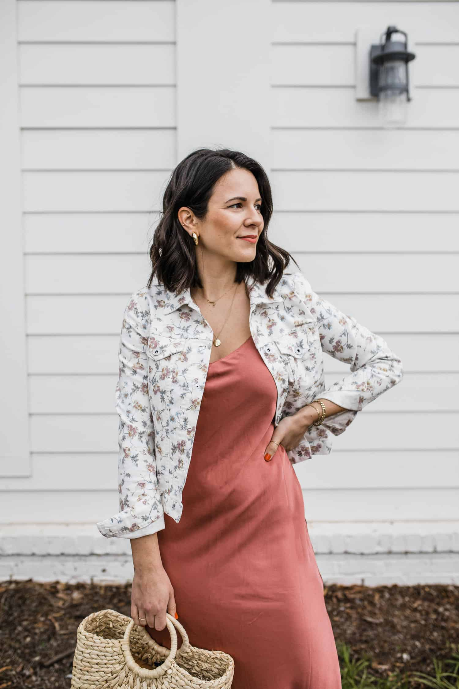 Jessica Camerata of My Style Vita in a floral denim jacket