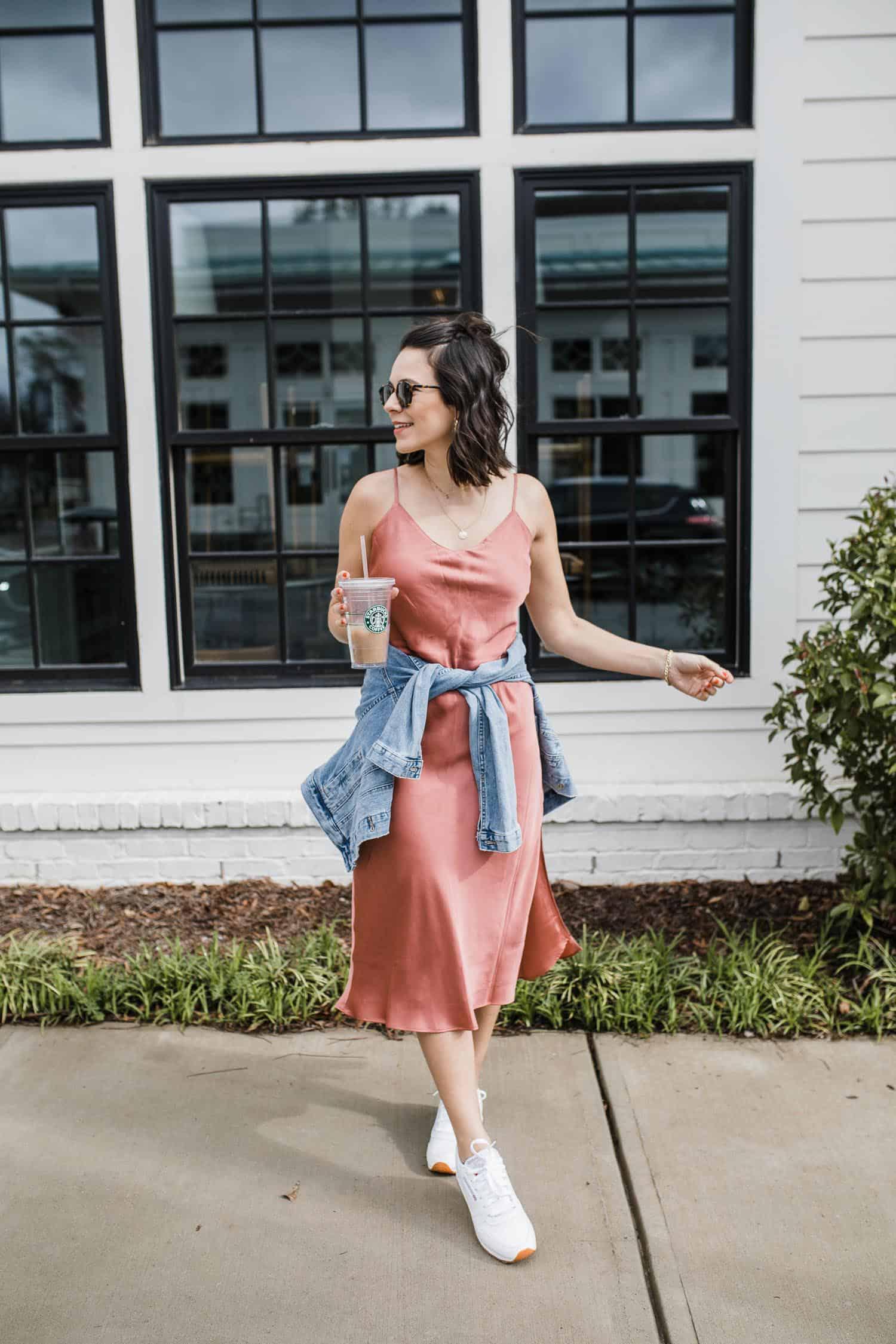 how to dress down a slip dress
