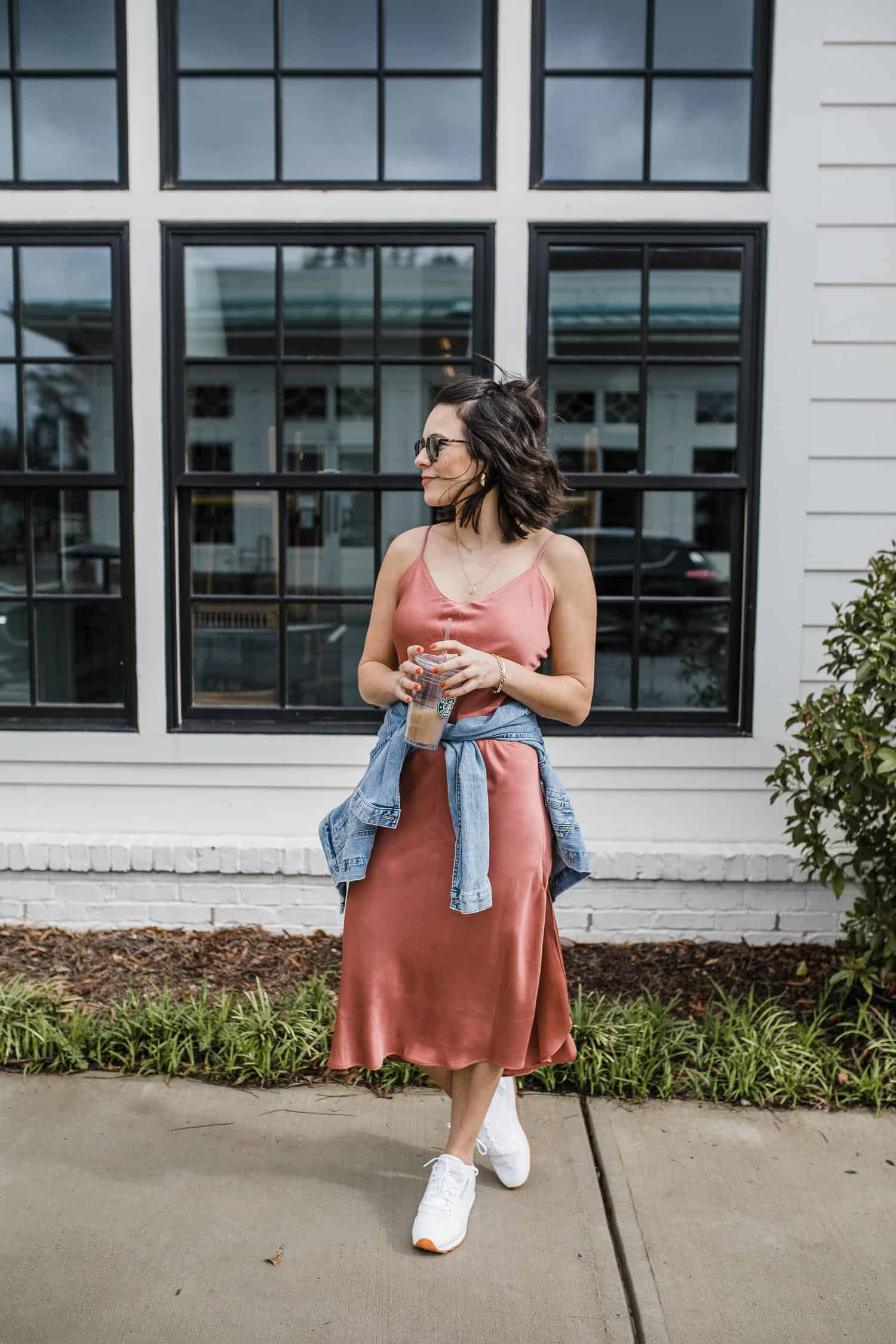 slip dress with sneakers