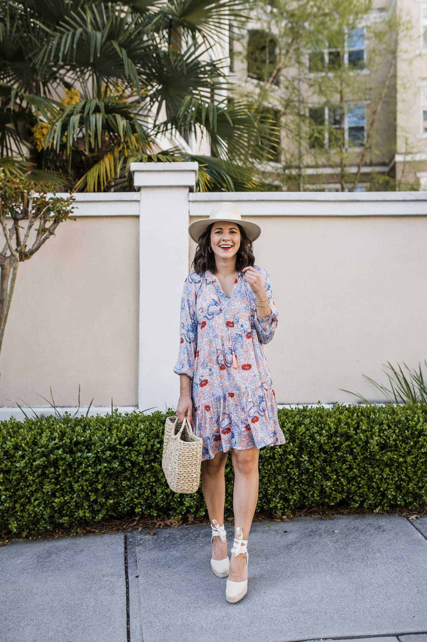 summer dress with a hat and espadrilles
