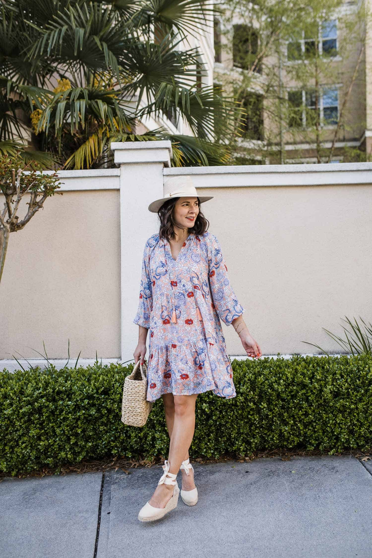 Jessica Camerata wears a summer dress with espadrilles