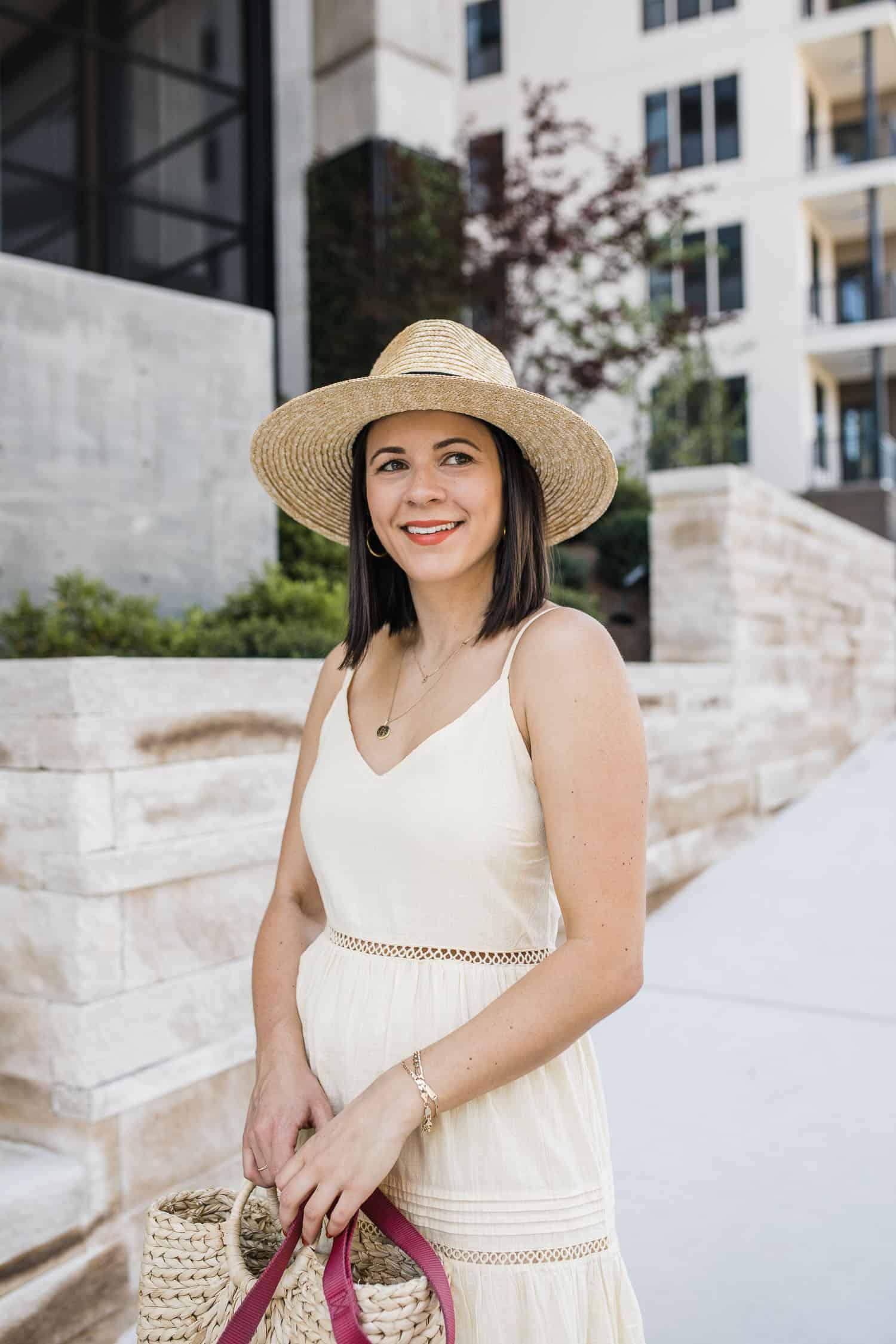 Straw panama hat and maxi dress