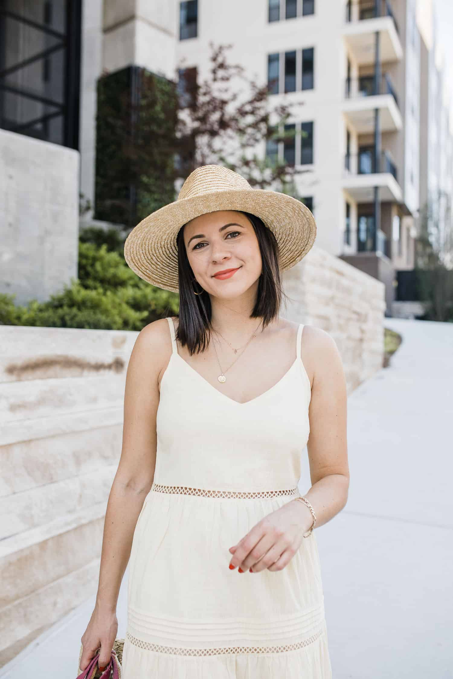 Summer straw hat and summer maxi dress