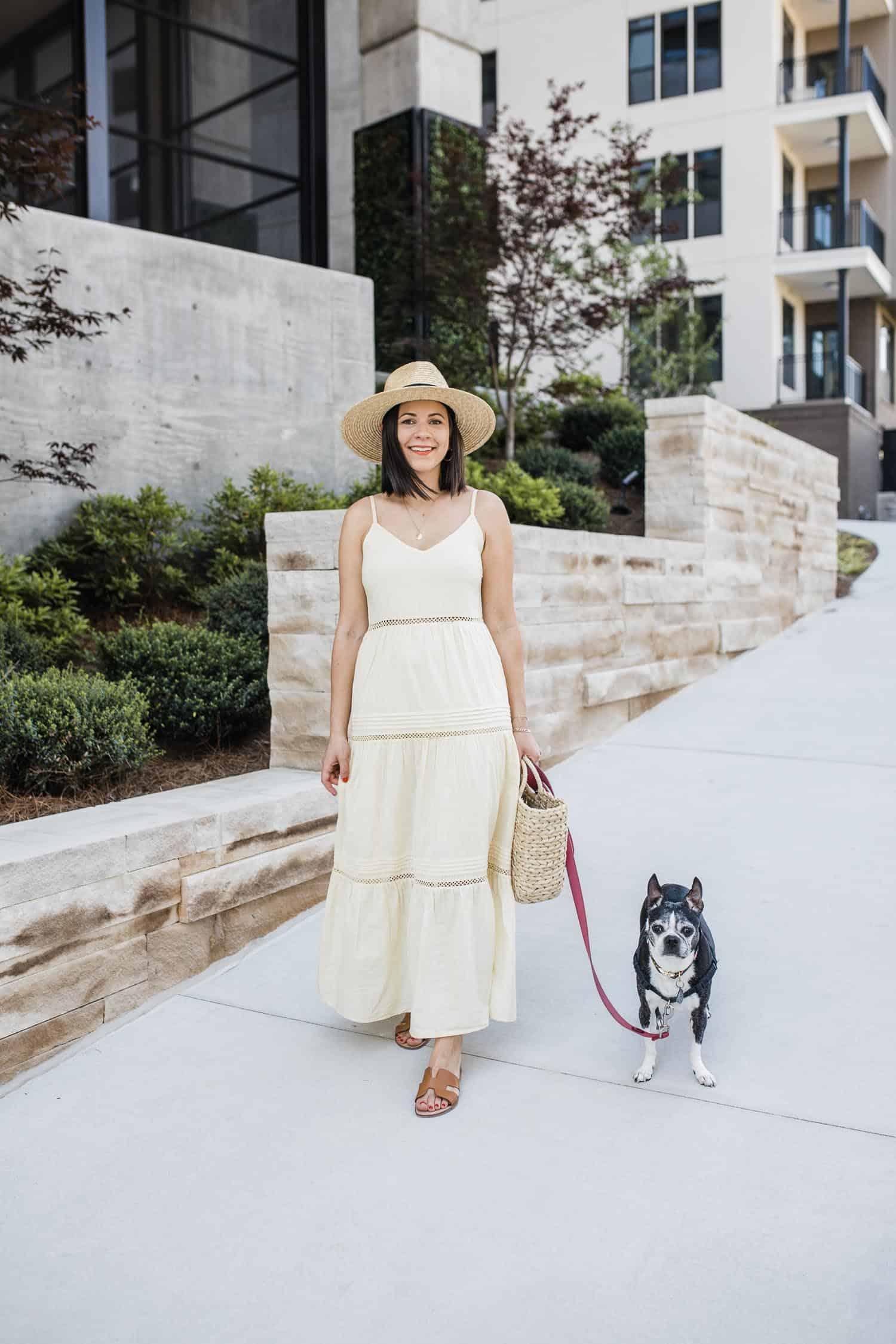 Jessica Camerata wears a yellow maxi dress