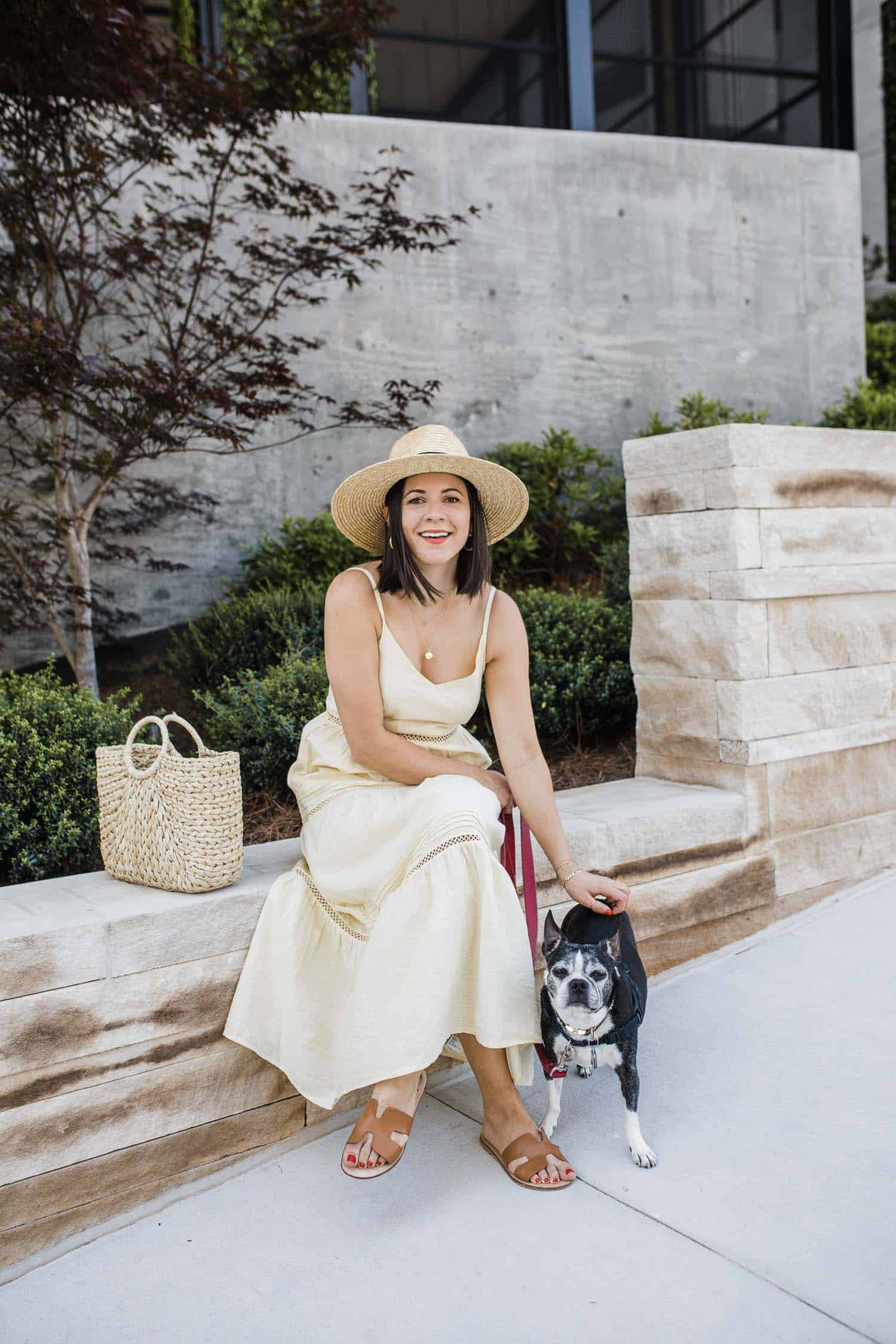 H&M Yellow Maxi Dress • Straw Hat • Steven Sandals •Hat Attack Straw Bag