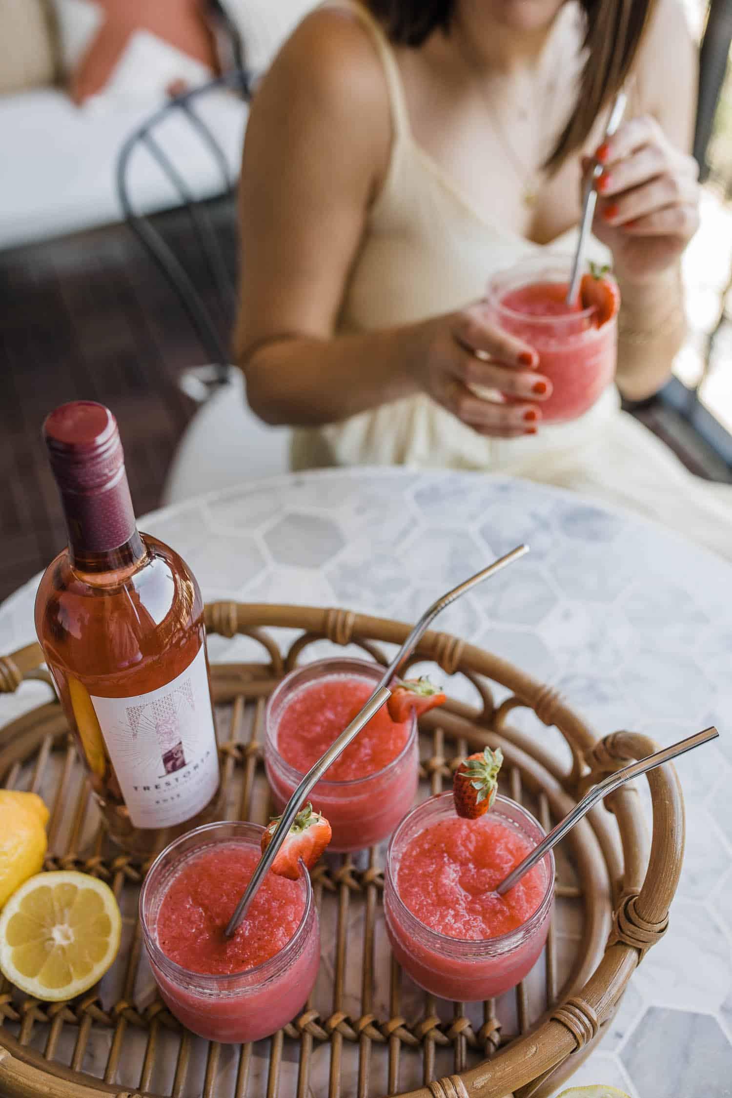 strawberry lemon frose cocktails