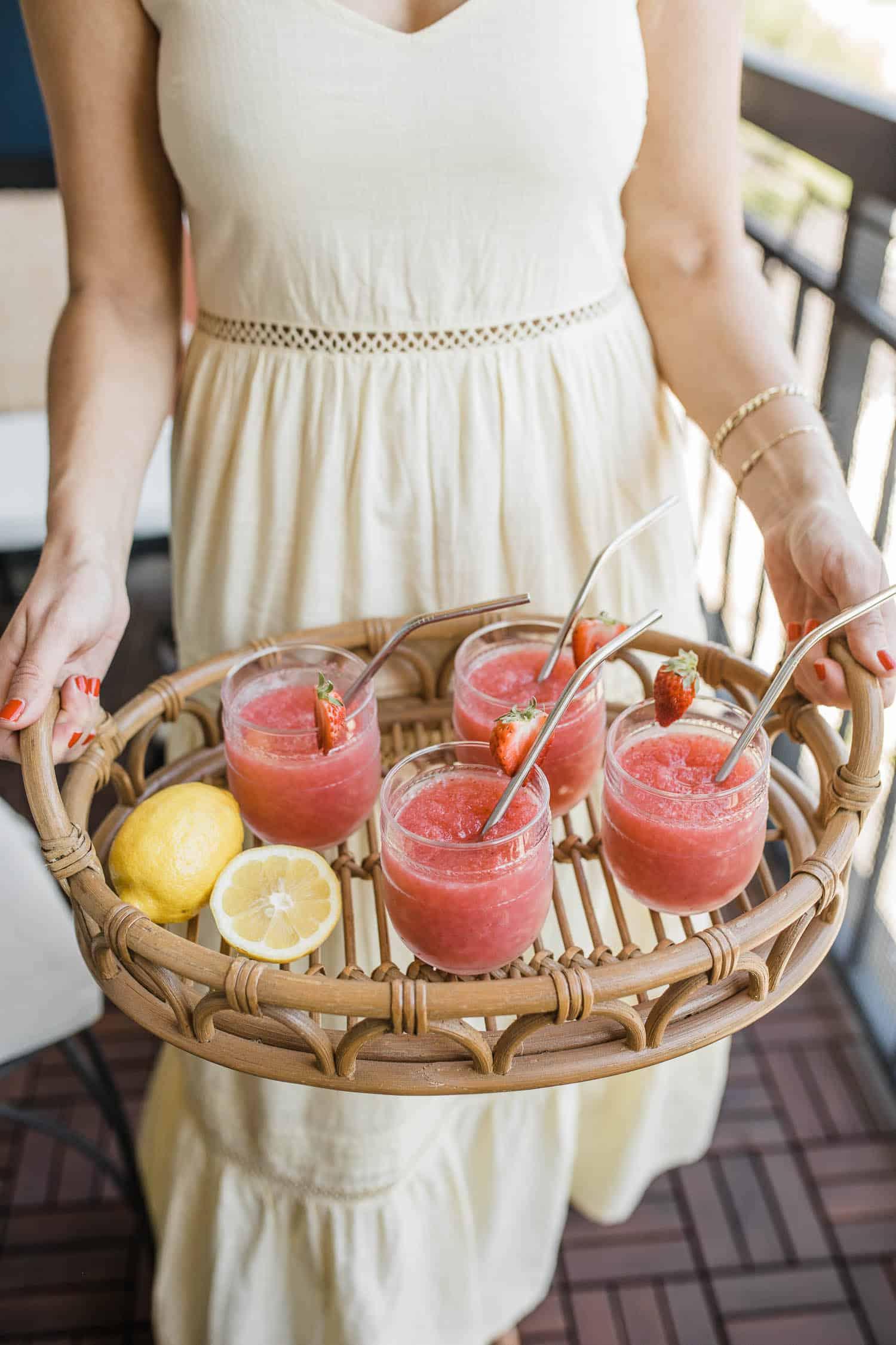serving strawberry lemon frose for summer