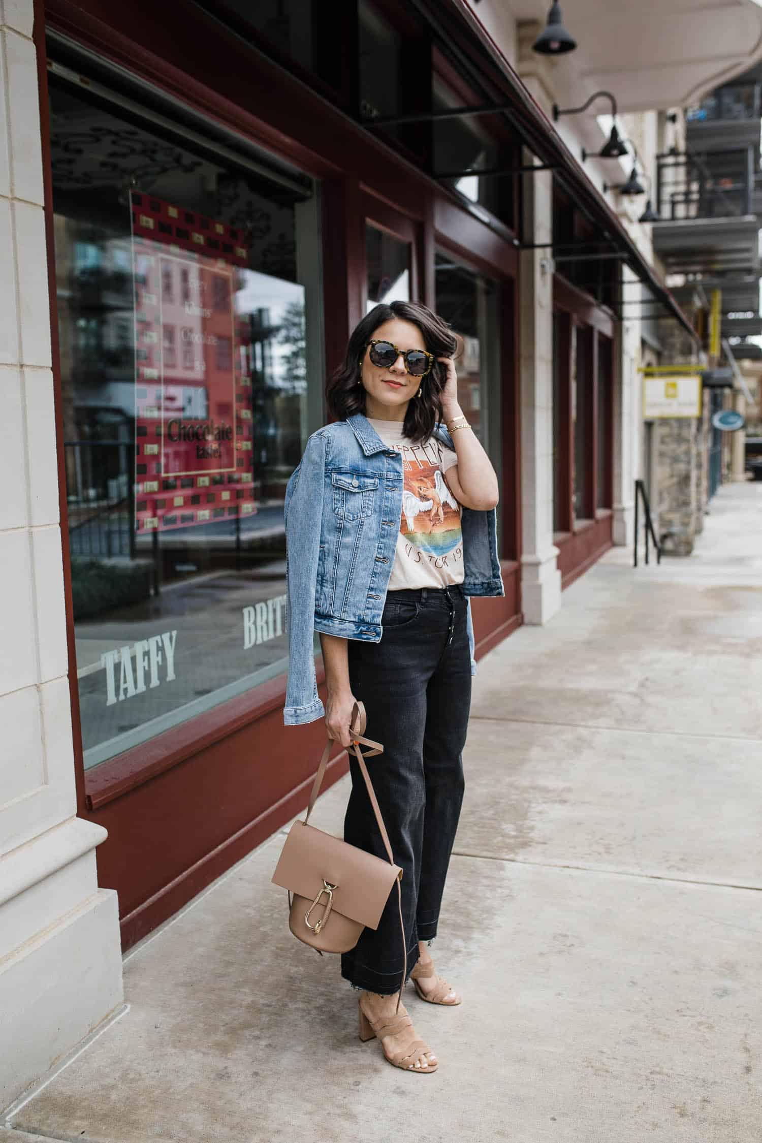 Jessica Camerata styles wide leg crop jeans